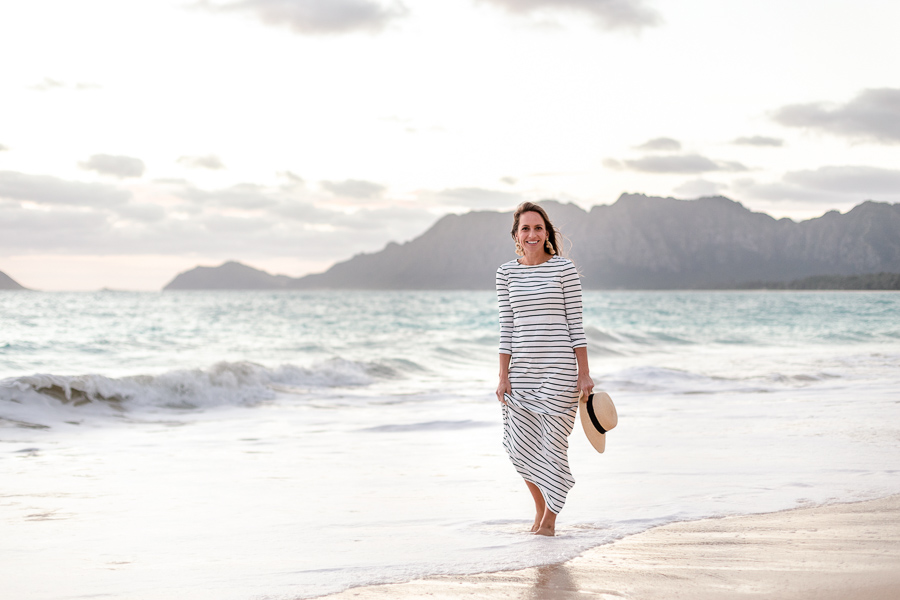 Stripes and Whimsy - striped maxi dress - black and white striped maxi dress - j crew striped maxi dress - long sleeve striped maxi dress - beach photo ideas - beach photo outfit - panama hat with black ribbon - Bellows - best Oahu sunrise location - Hawaii sunrise - Oahu sunrise location
