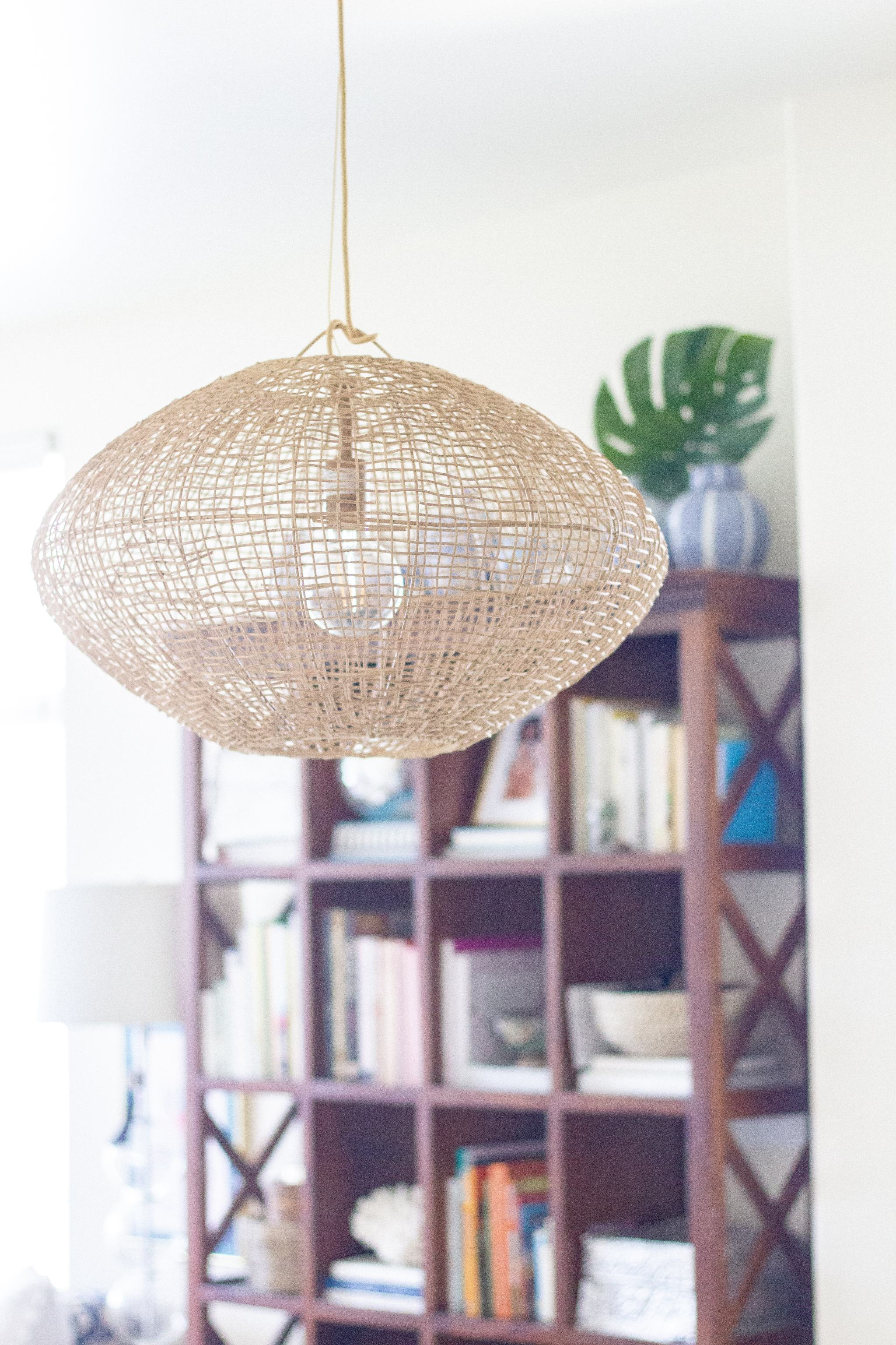 woven chandelier - project 62 Leanne Ford lights - rattan chandelier - wicker chandelier - natural light fixtures - serena and lily lighting - beach house chandelier - beachy decor