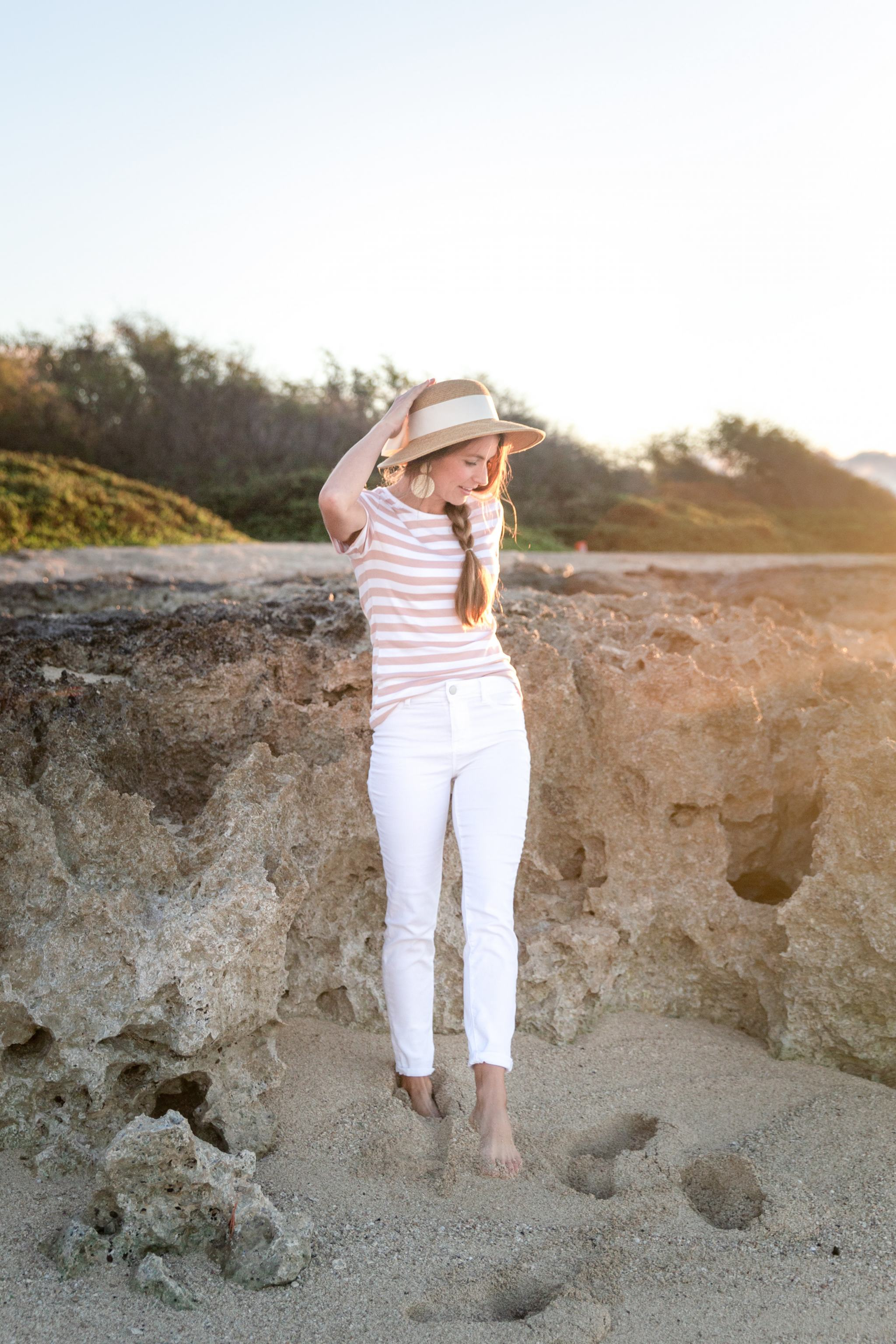 blush striped shirt - white denim pants - white pants - White Plains beach - rattan earrings - wicker earrings - woven earrings - sun hat with bow - bow sun hat - target striped shirt - Hawaii sunrise - spring fashion - spring outfit ideas - spring style - summer style - walmart white jeans - tuckernuck straw hat - amazon earrings - affordable style