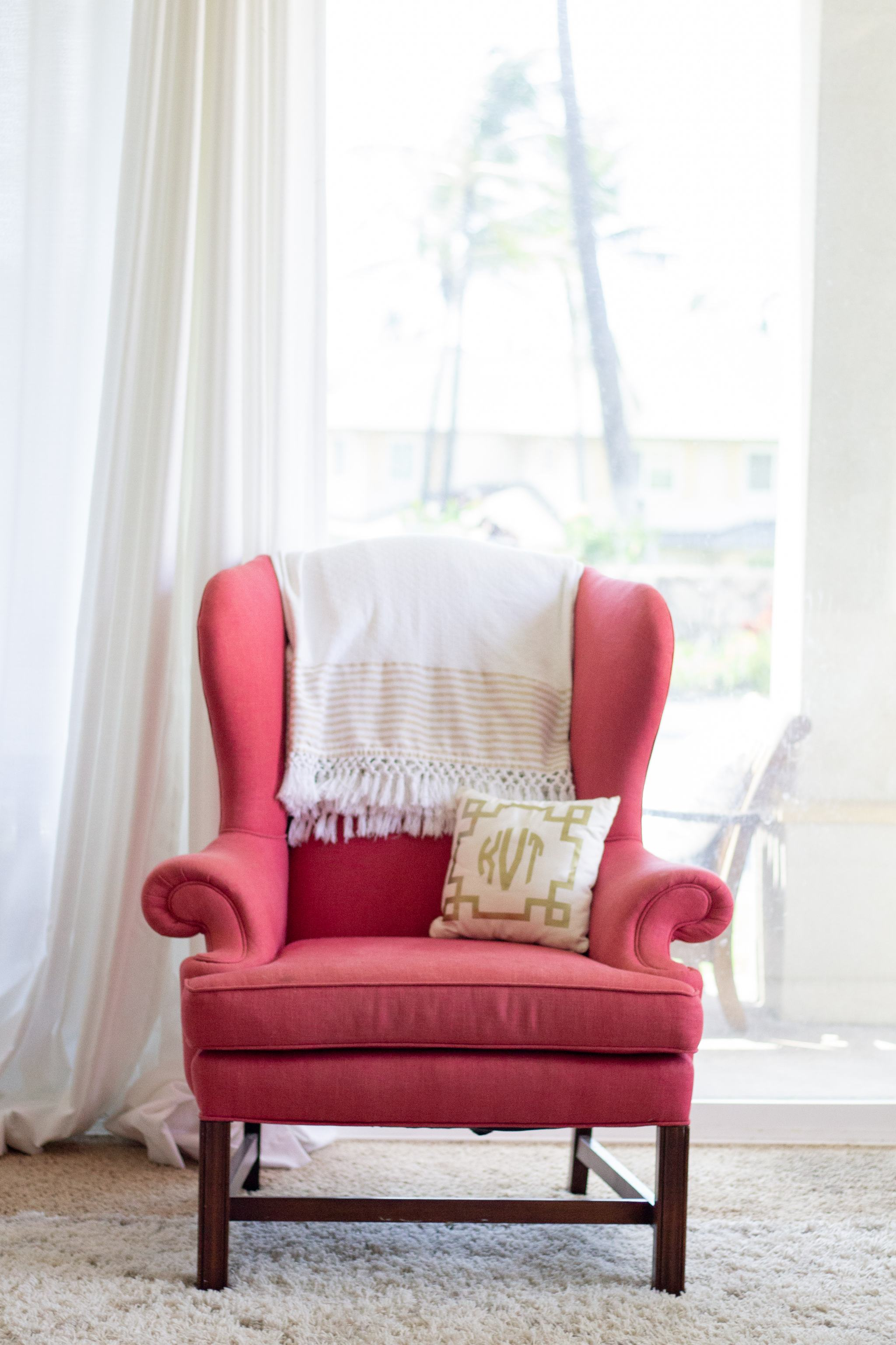 pink wingback chair - vintage wingback chair