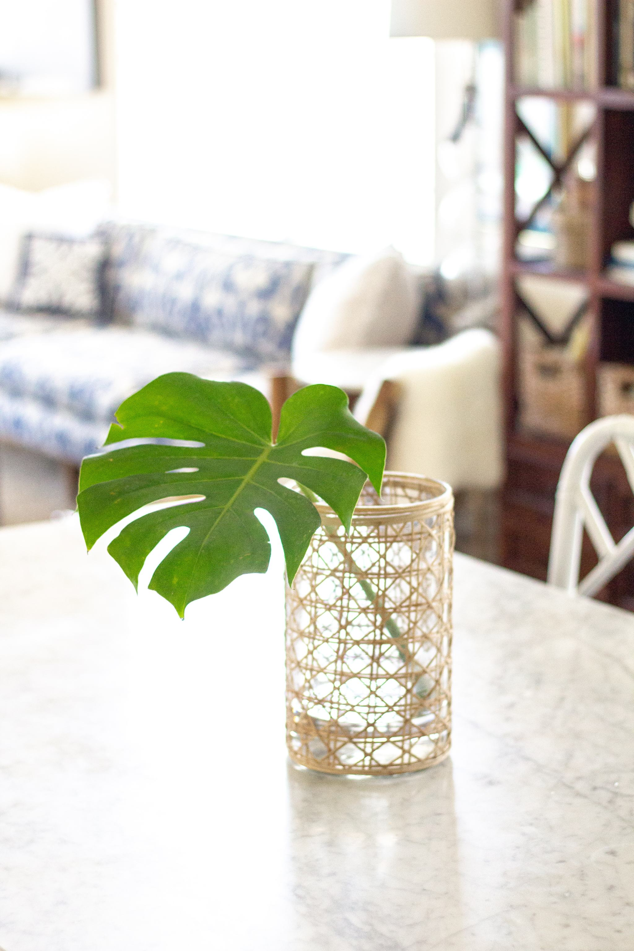woven rattan wrapped hurricane - rattan wrapped vase
