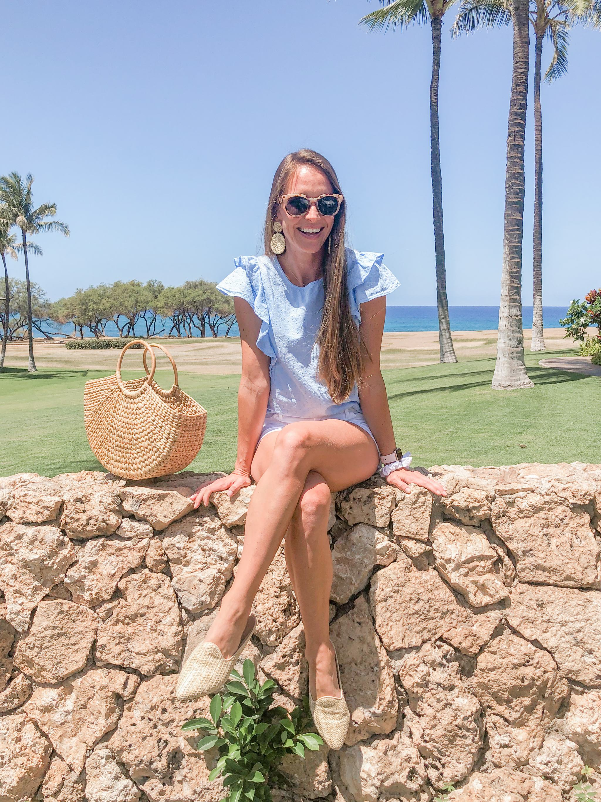 woven mules - rattan shoes - old navy flutter top - rattan earrings basket bag - spring style - spring outfit ideas - spring fashion