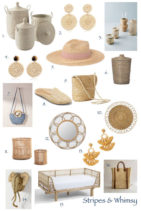 rattan shoes - rattan bag - straw purse - straw hat - rattan furniture - rattan mirror - seagrass basket - basket backpack - seagrass woven glasses - rattan daybed - rattan hurricane candleholder - woven trash can - natural fiber - rattan earrings - raffia earrings - bohemian style - woven earrings -