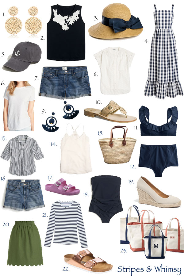 timeless summer style - classic summer style - preppy summer clothes - anchor baseball cap - striped rash guard - best denim shorts - jean shorts - navy swimsuit - navy blue bikini - gingham maxi dress - Jack Rogers sandals - espadrille wedges - gold birkenstocks - boat and tote bag - straw basket bag - rattan earrings - bow sun hat - scalloped tank -scalloped skirt - pink waterproof birkenstocks