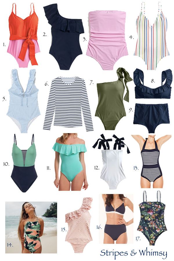 classic swimsuits - timeless swimsuits - jcrew swim - jcrew swimsuits - jcrew factory swim - albion fit swim - trina turk off the shoulder one piece - striped rash guard - boden swim - h&m swim - lively swim - colorblock swim - mom friendly swimsuits - high rise bikini bottoms - high rise swimsuits - most flattering swimsuits - ruffled swimsuits - preppy swimsuits
