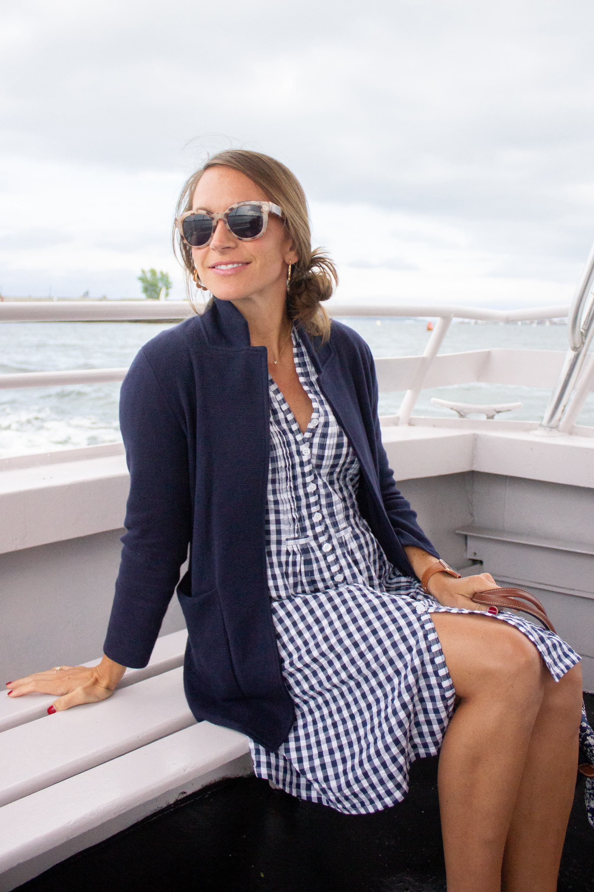 madison mathews juliette dress - madison mathews gingham dress - blue gingham dress - sweater blazer - summer style - new england style - Boston style - preppy summer style - tortoise sunglasses - dress with sneakers - white superga sneakers - gold scallop hoop earrings - walmart earrings - navy longchamp bag - boating style - nautical style
