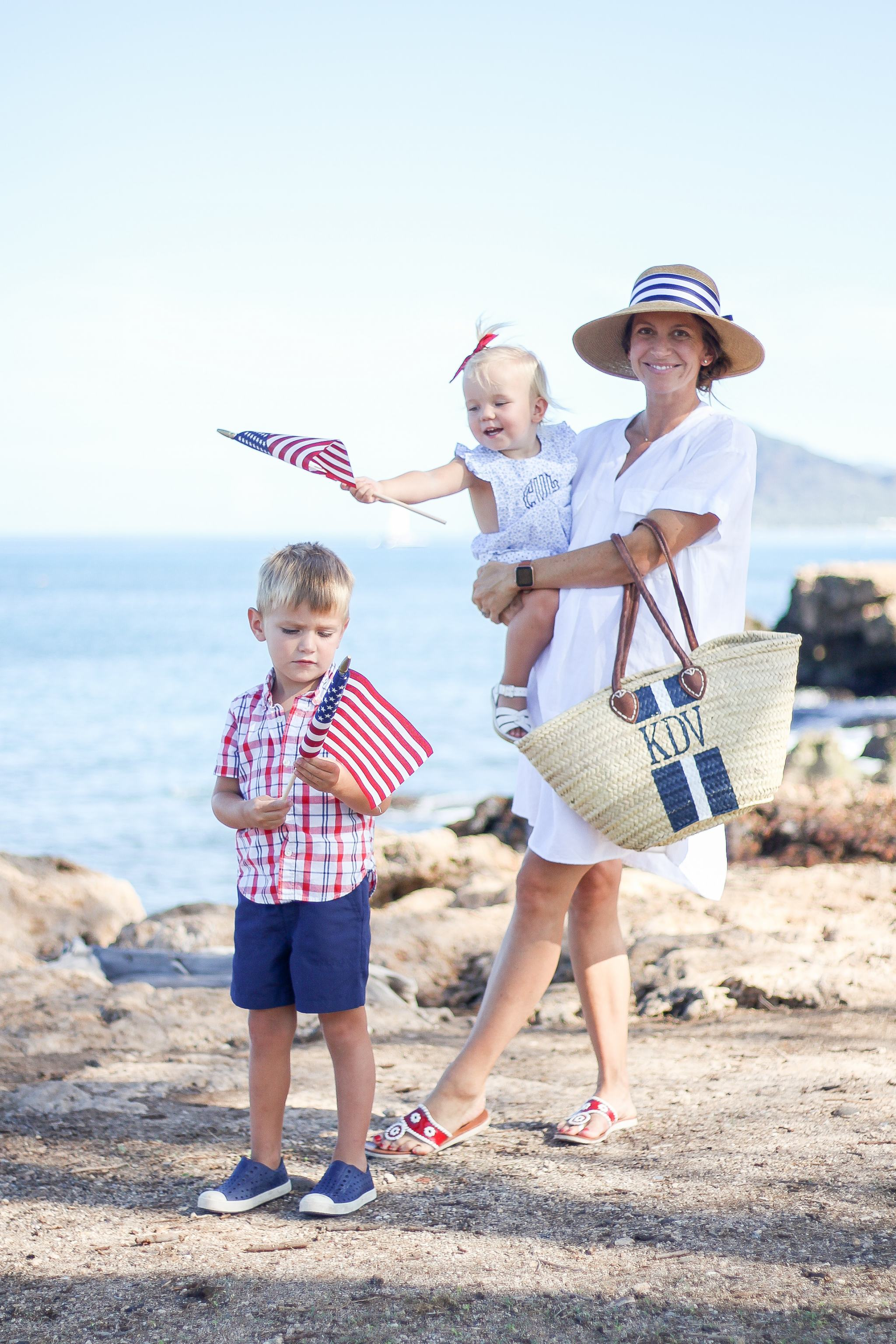 Americana - basket bag - maternity style - 4th of july - 4th of july family outfit ideas - red white and blue outfits - blue and white outfits - summer style - beach outfit ideas - sun hat with bow - sun hat with striped ribbon - monogrammed bubble