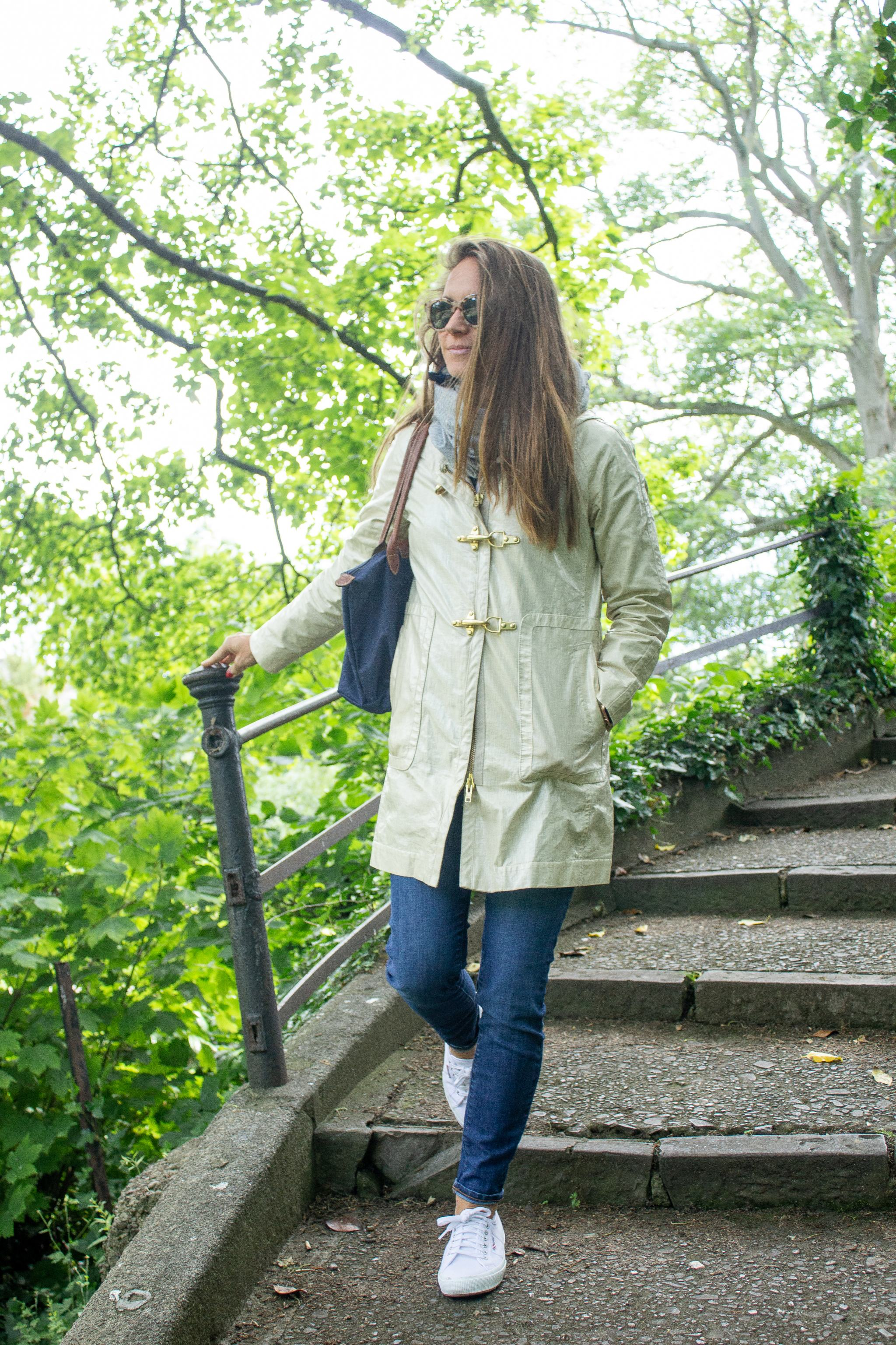 classic style - maternity style - second trimester outfit idea - pregnancy style - white superga sneakers - jeans and sneakers - superga cotu sneakers - travel outfit inspiration - traveling in ireland - cute rain jacket