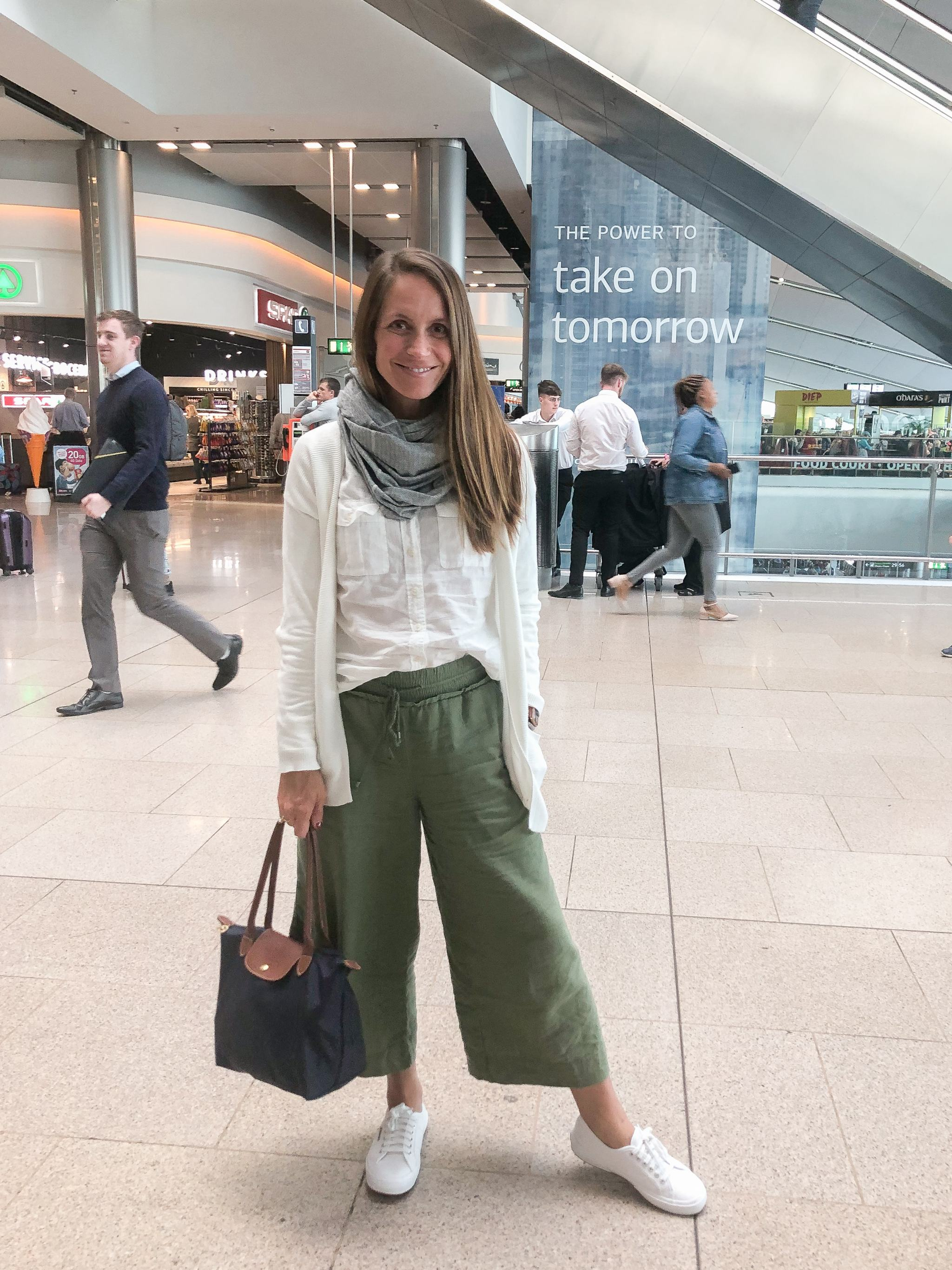 classic style - maternity style - second trimester outfit idea - pregnancy style - travel outfit ideas - linen pants and sneakers - walmart linen pants - walmart fashion - travel outfit inspo - white superga sneakers - superga cotu sneakers