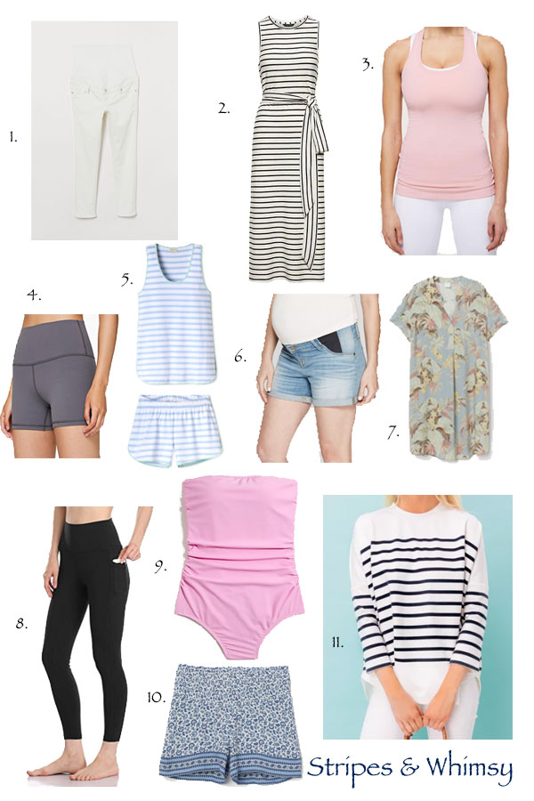 summer maternity staples - summer pregnancy - maternity must haves - non-maternity pieces for pregnancy - classic style - maternity style - maternity must haves - pregnancy style - bump style - white maternity jeans - maternity pajamas - maternity shorts - yoga pants for pregnancy - maternity yoga pants - colorfulkoala yoga pants - maternity swimsuit - classic maternity style - striped swing sweatshirt