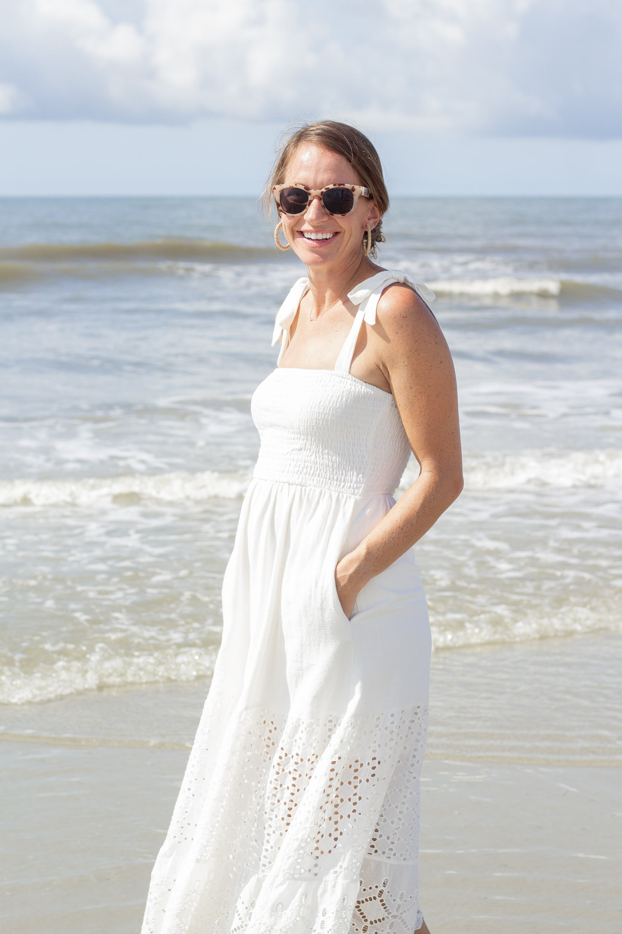 white dress - summer dresses - classic white dress - eyelet dress - rattan earrings - rattan hoops - tortoise sunglasses - tortoise shell sunglasses - beach photo outfit
