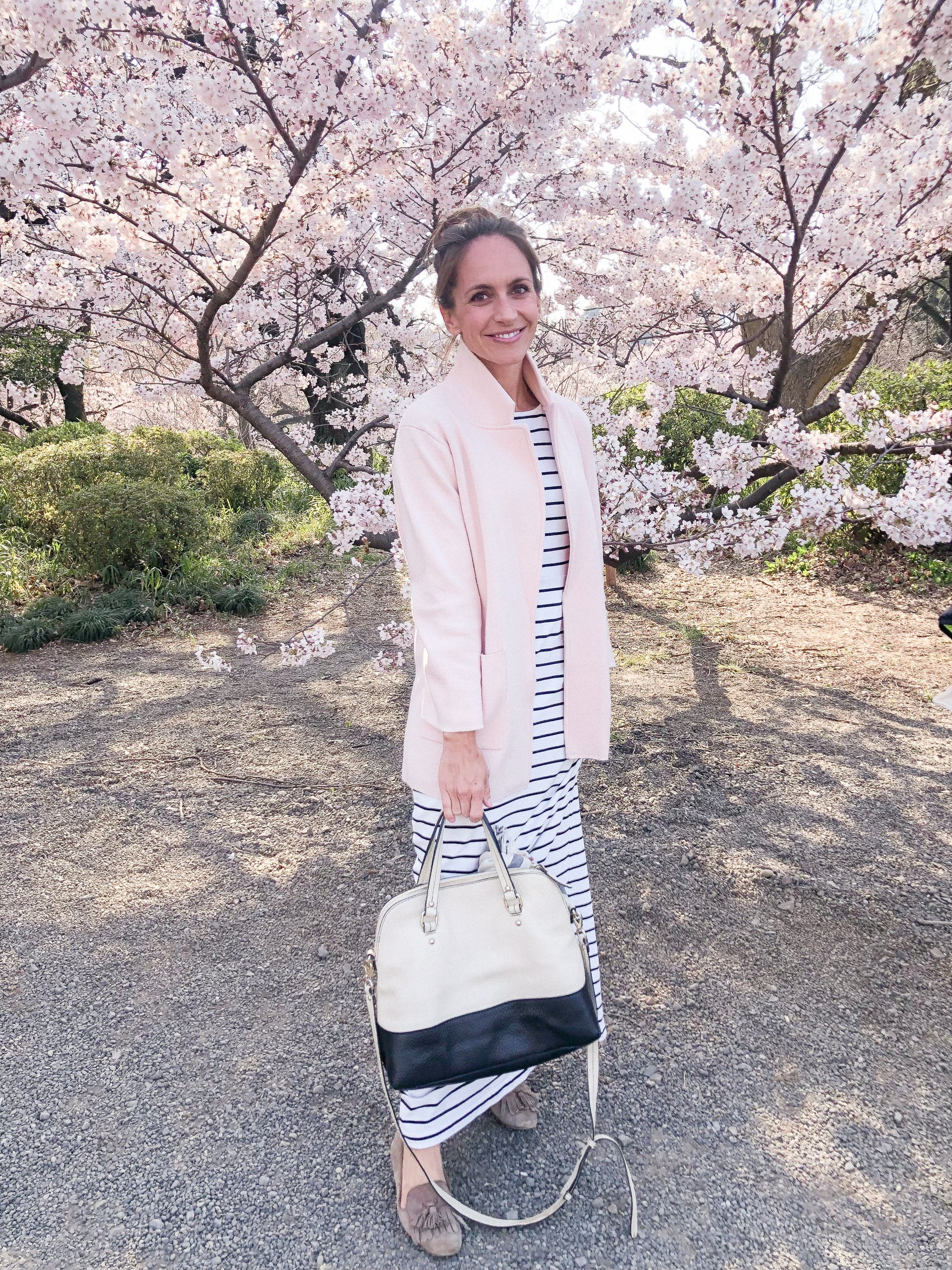 Shinjuku Gyoen National Garden - sakura Tokyo - cherry blossoms in Tokyo - best place to see cherry blossoms in Tokyo - spring in Tokyo - striped dress - sweater blazer - travel outfit - loafers with dress - burberry scarf - sightseeing in Tokyo