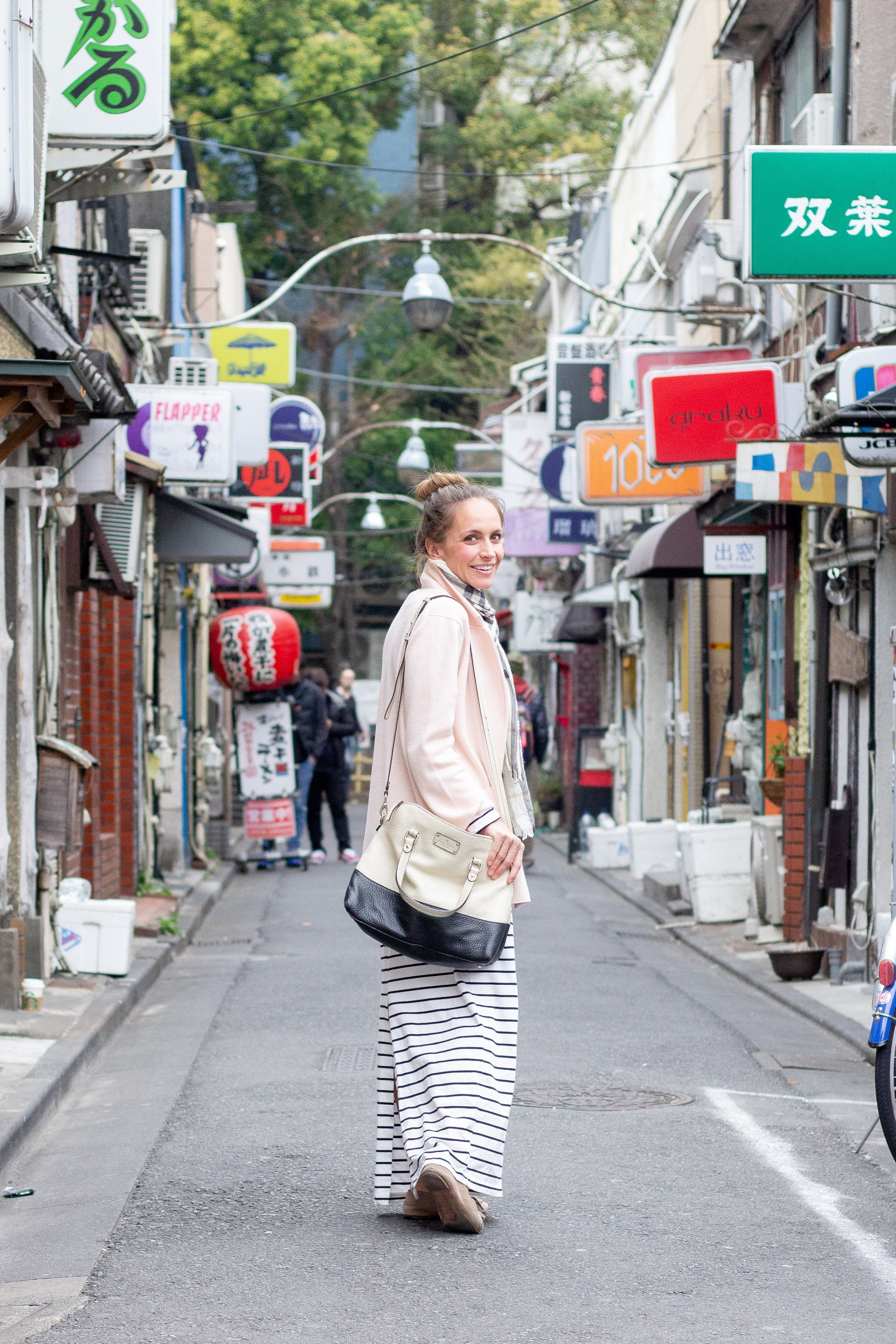 spring in Tokyo - striped dress - sweater blazer - travel outfit - loafers with dress - burberry scarf - sightseeing in Tokyo