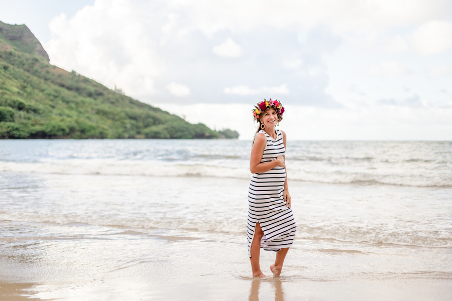 maternity photos - hawaii maternity photos - kahana bay - ohau beach photographer - flower crown - striped dress pregnancy - rattan earrings - stephanie H photography hawaii - pregnancy photos - 19 weeks pregnant - baby number 3 - oahu photography - windward side oahu - hawaii blogger - honolulu blogger - pregnancy style - maternity style - bump style