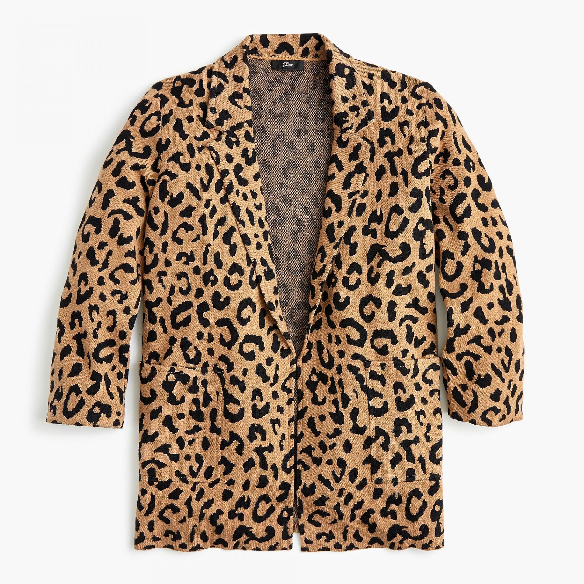 leopard sweater blazer - jcrew sweater blazer - fall must haves - leopard print sweater