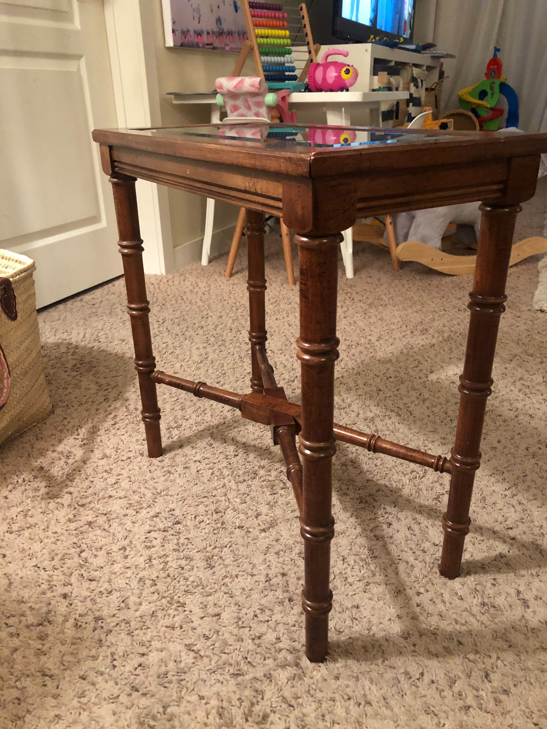 vintage furniture DIY - chinoiserie - faux bamboo side table - furniture DIY - painted furniture