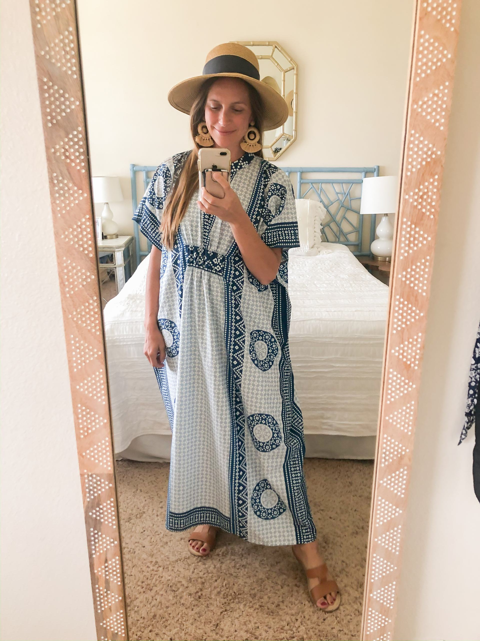 beach coverup - packable bow sunhat - blue and white caftan - blue and white swim coverup - amazon caftan - preppy caftan - bsubseach caftan - geometric coverup - classic swim coverup - palm springs style caftan
