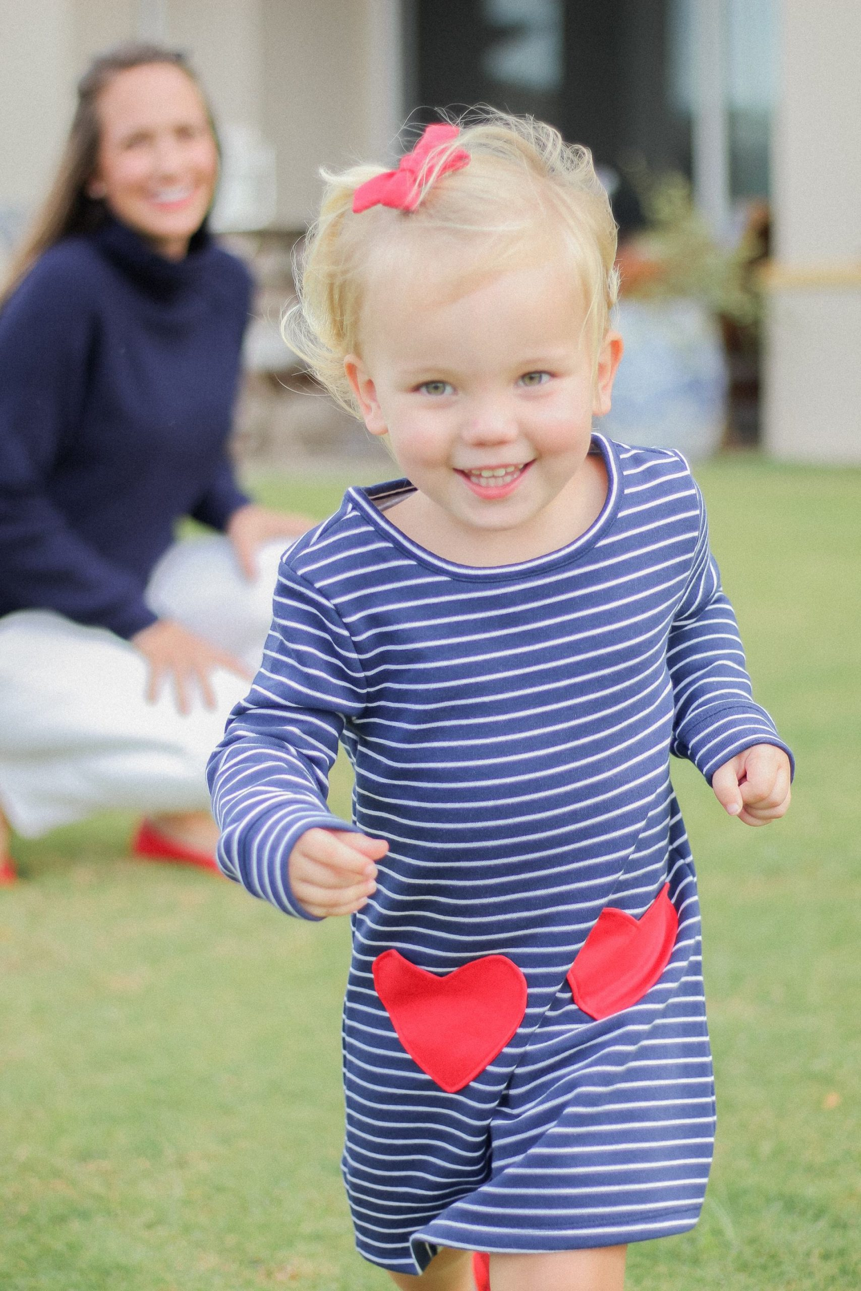 valentines day outfits - heart sweater - chicwish heart sweater - navy sweater with heart elbow patches - stripes and hearts - toddler valentines day outfit - mommy and me heart outfits - nashville bow co - preppy style - blue and white outfit - old navy valentines