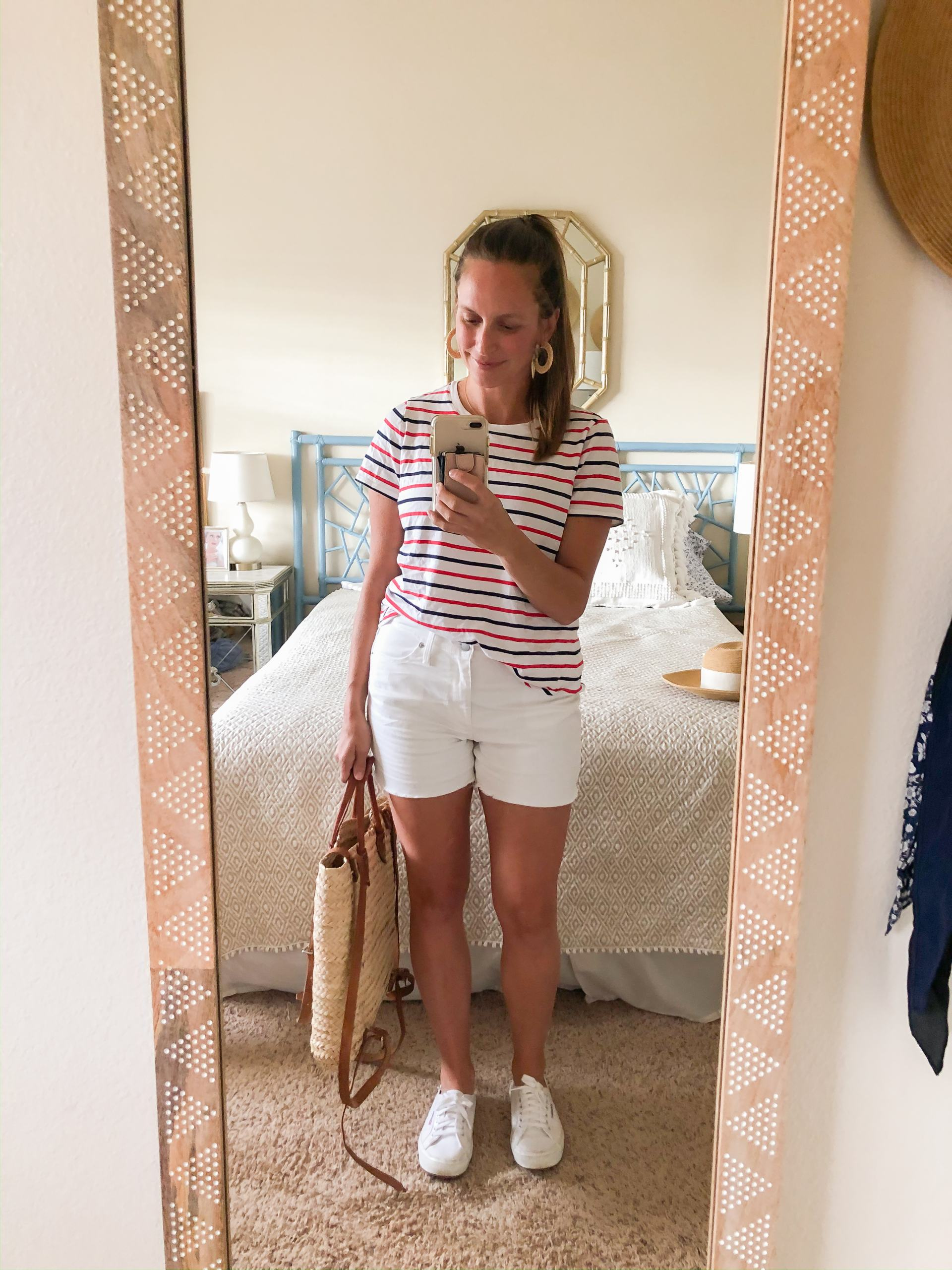 striped tshirt - red and blue striped shirt - white jean shorts - white sneakers - spring outfit idea