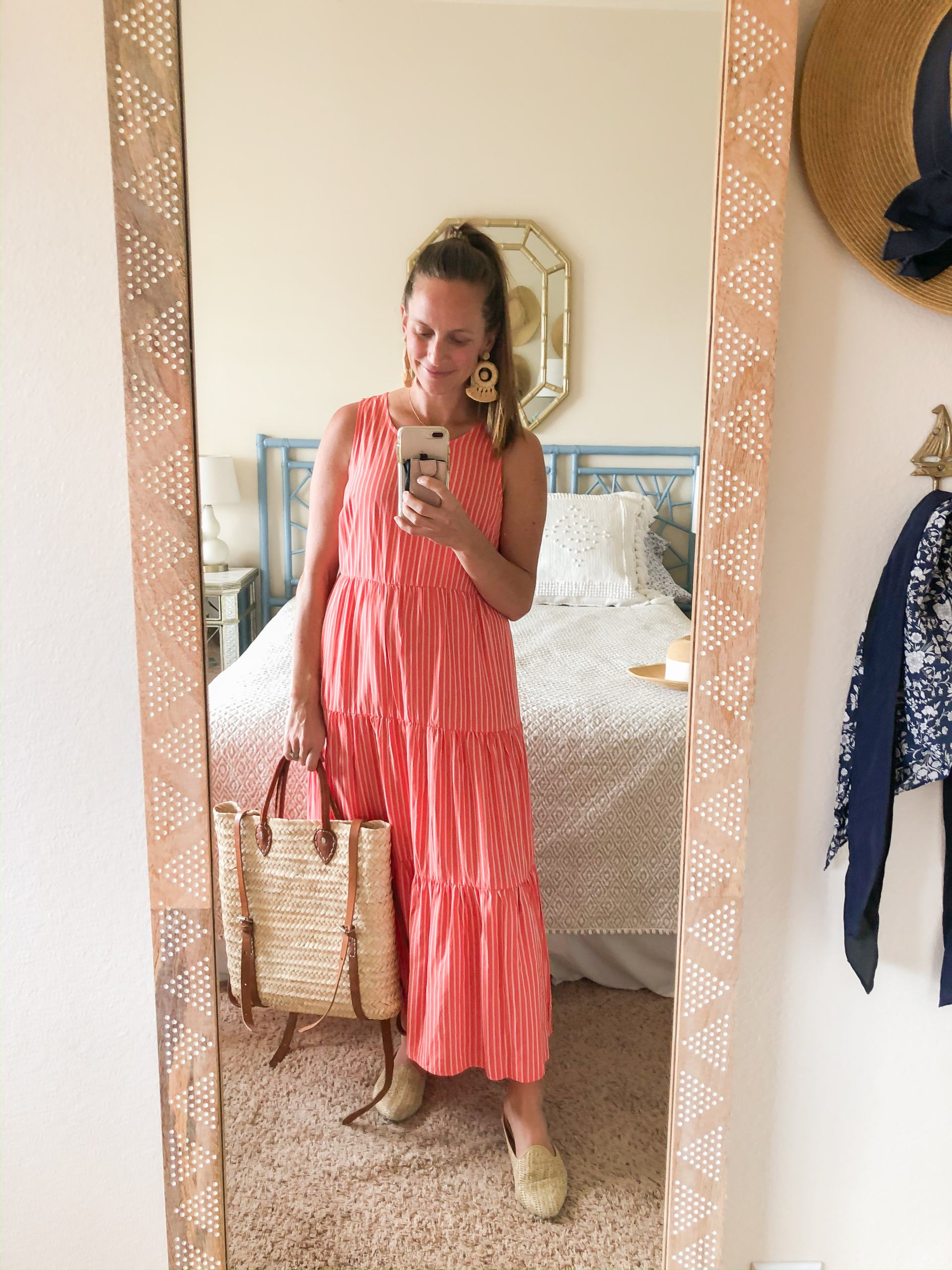 coral tiered maxi dress - affordable maxi dress - striped tiered maxi dress - basket backpack - basket bag - raffia earrings - rattan earrings - raffia dream catcher earrings - mom friendly spring outfit - spring outfit