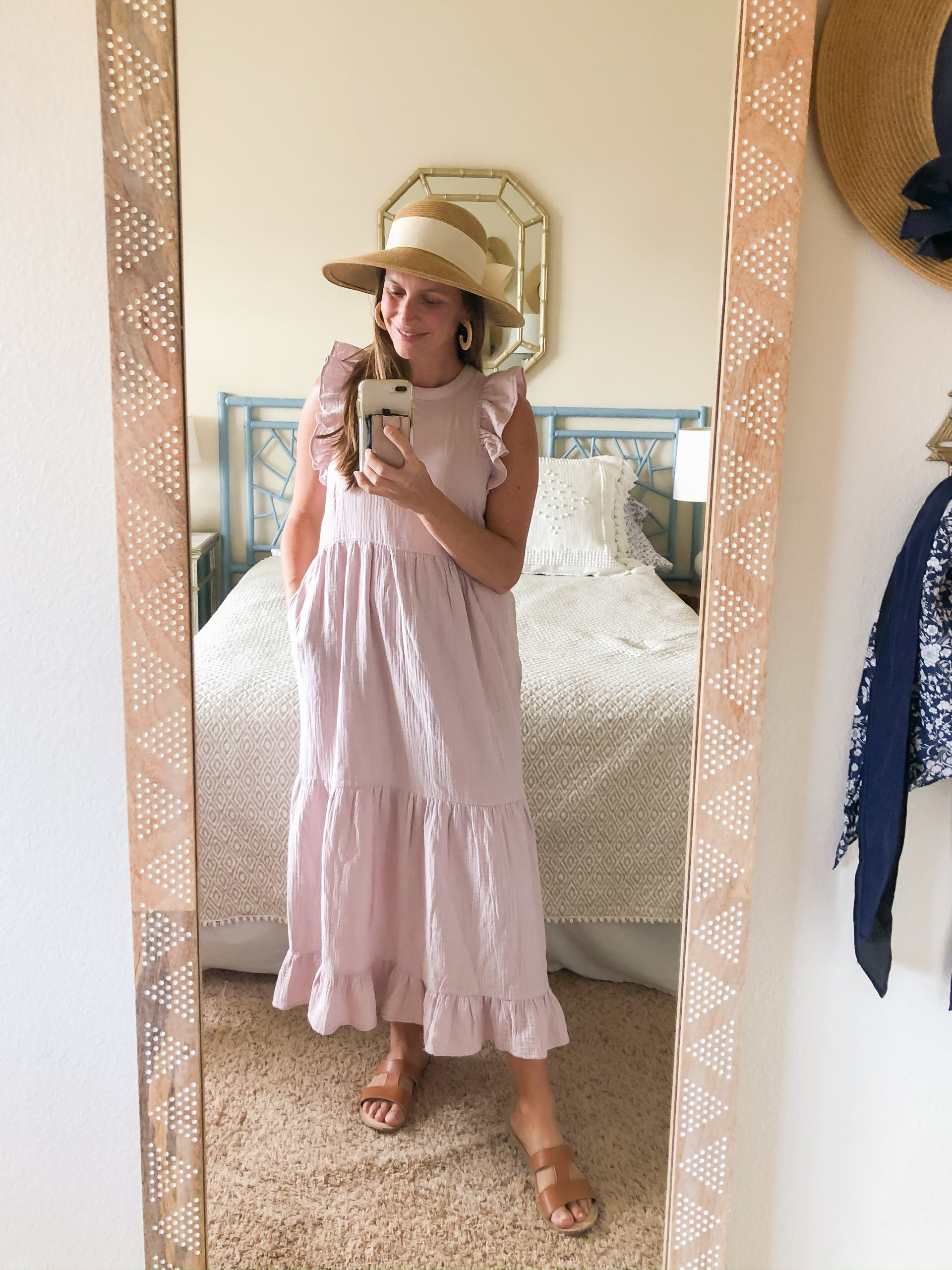 tiered midi dress - tiered maxi dress - lilac maxi dress - maxi dress with pockets - spring outfit ideas - packable sun hat - sun hat with bow