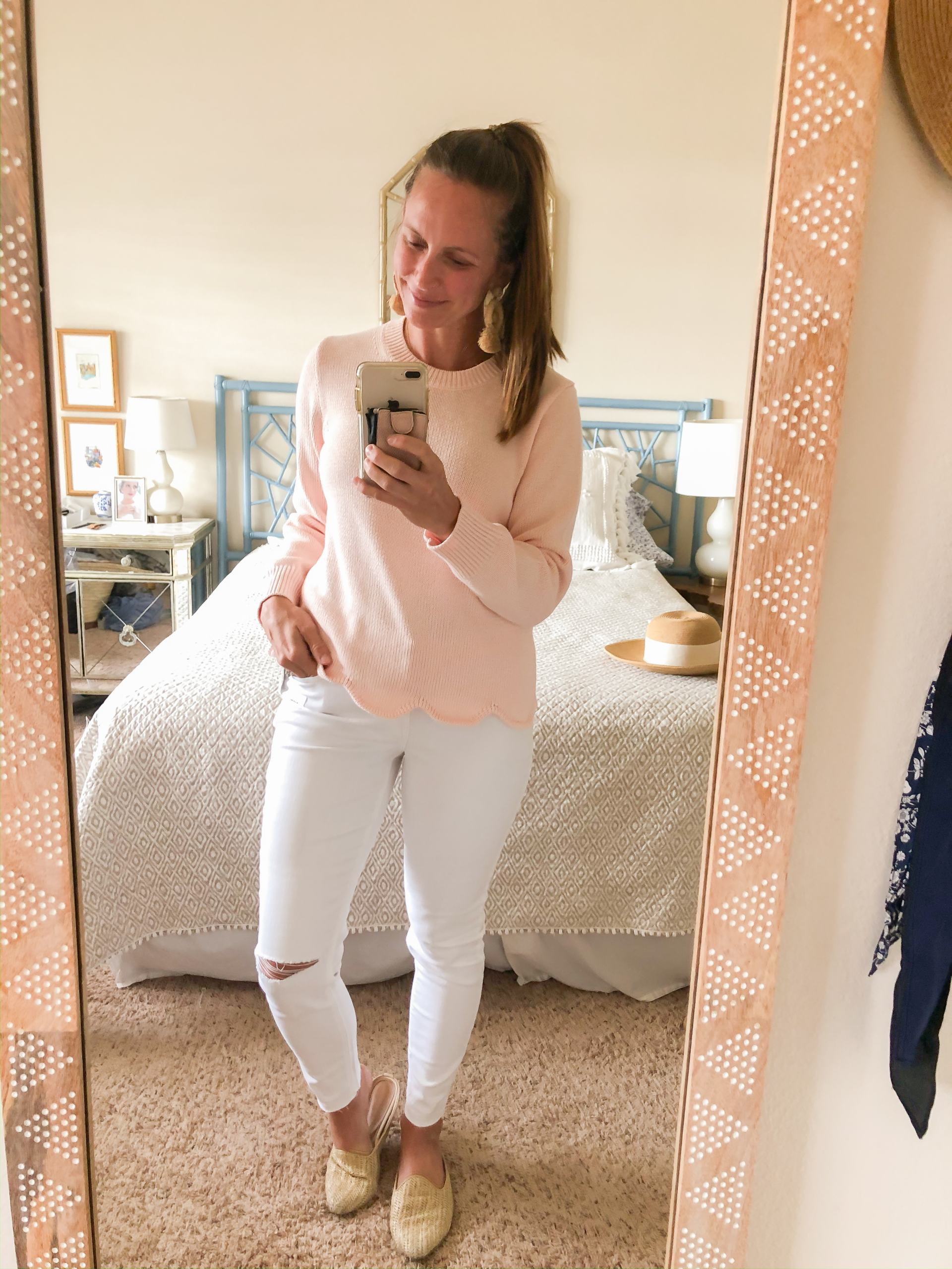 scallop hem sweater - pink spring sweater - scallops - preppy sweater - scalloped sweater - jcrew factory scallop sweater - spring outfit ideas