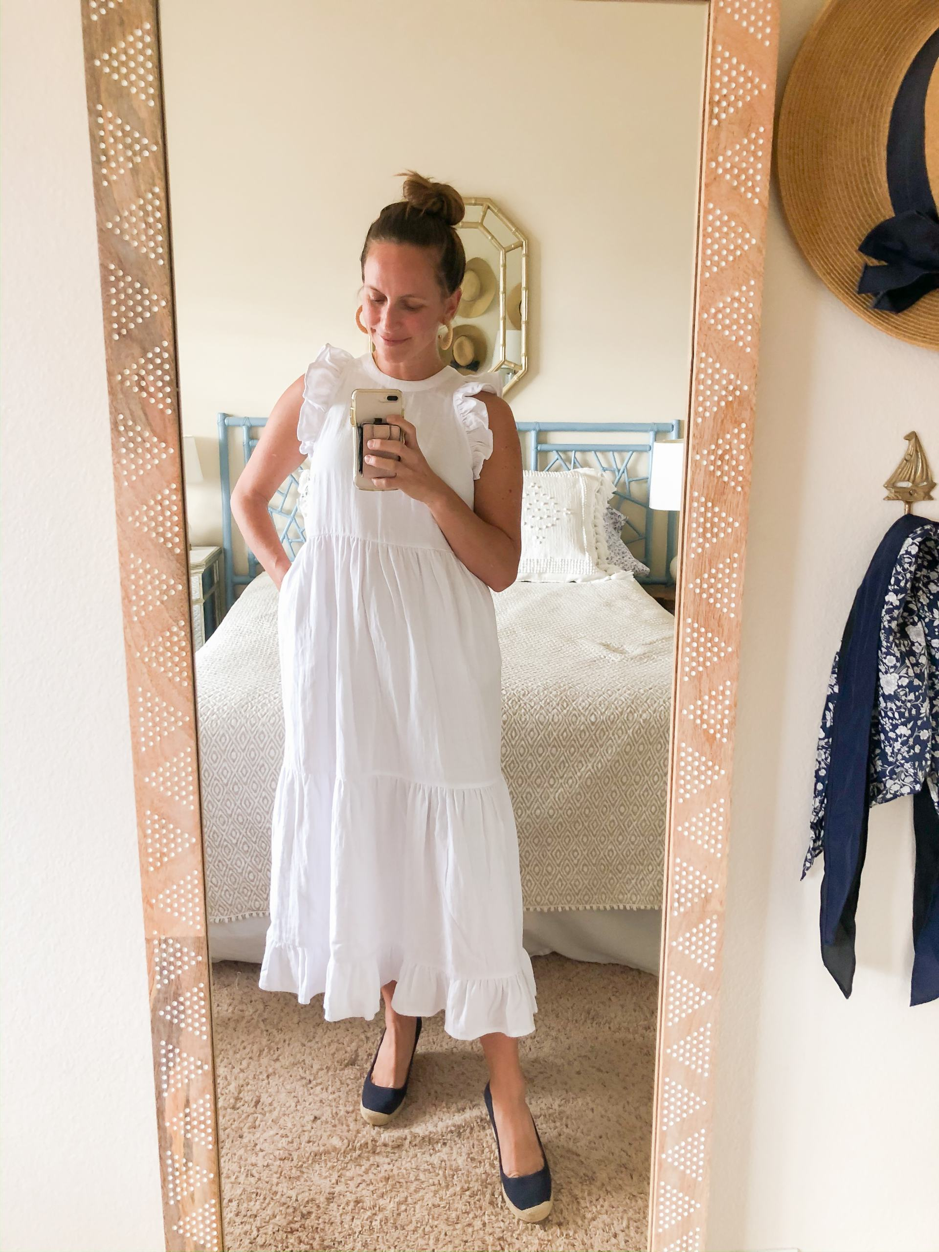 white maxi dress - white tiered maxi dress - white midi dress - affordable white dress - white dress with ruffles - target white dress - spring fashion - espadrille wedges - jcrew factory espadrilles - white dress with pockets