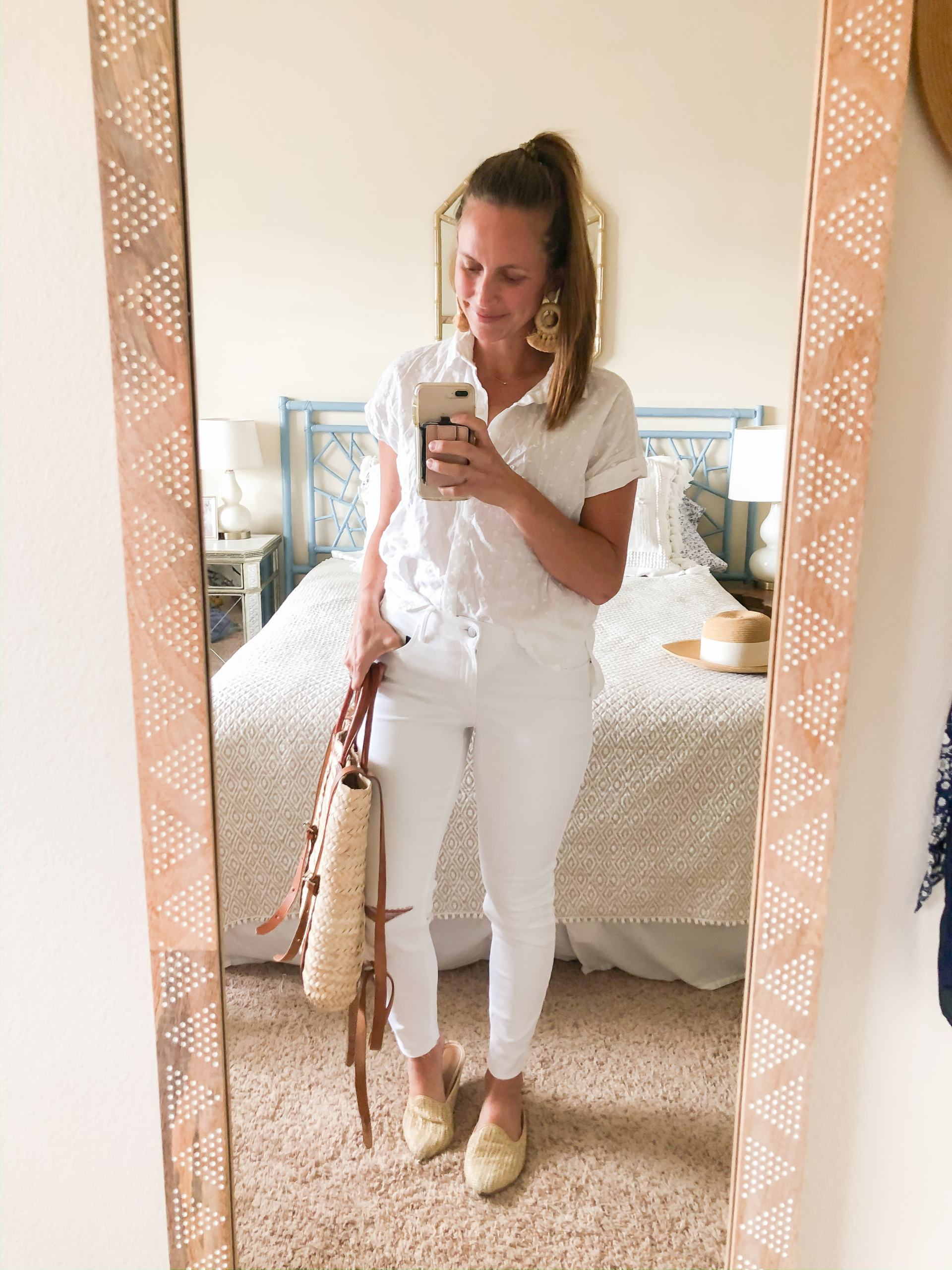 eyelet button front shirt - eyelet camp shirt - textured camp shirt - short sleeved button down shirt - all white outfit - spring outfit ideas - classic spring style - nursing friendly spring outfit