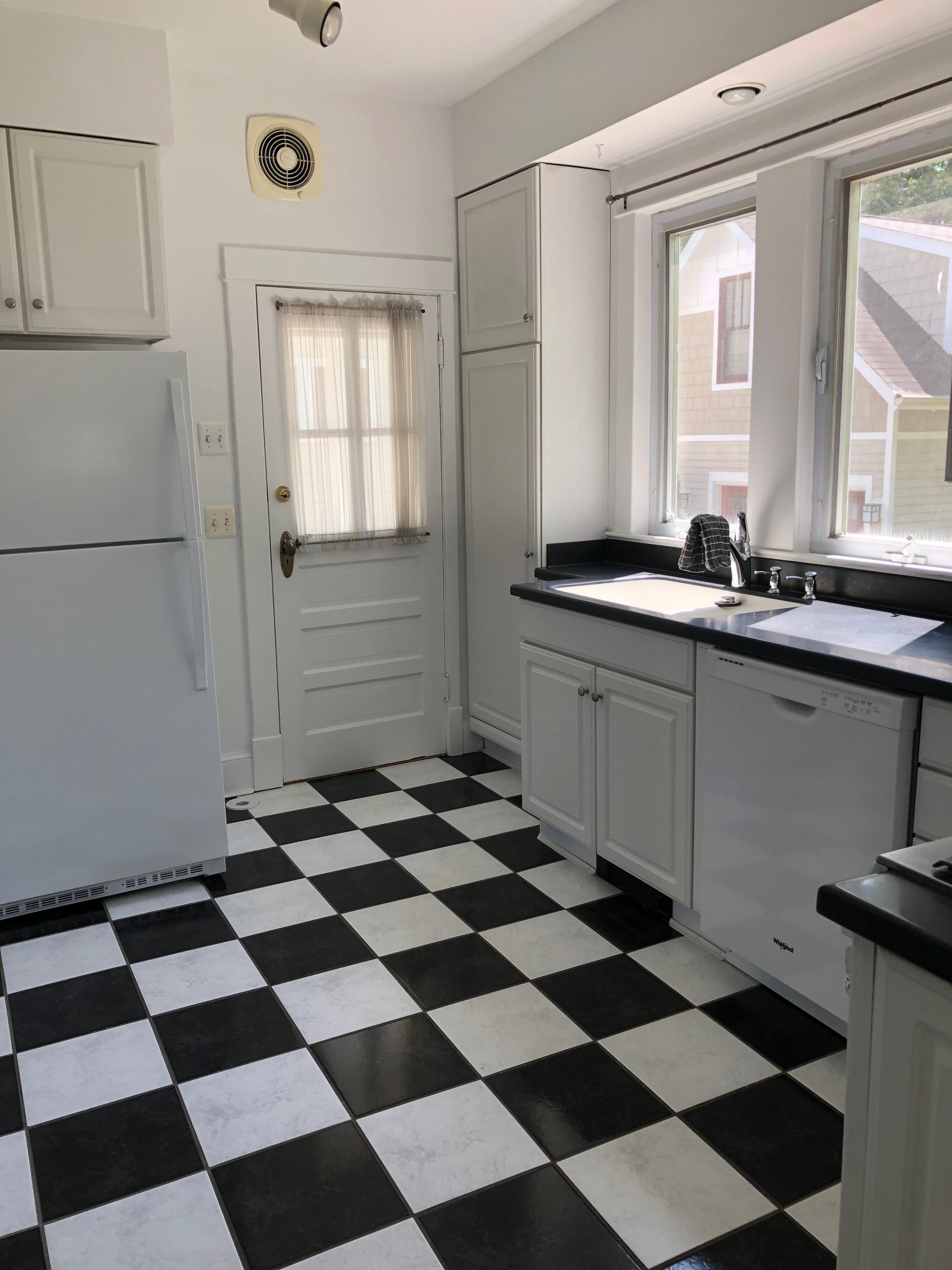 checkerboard floor in kitchen