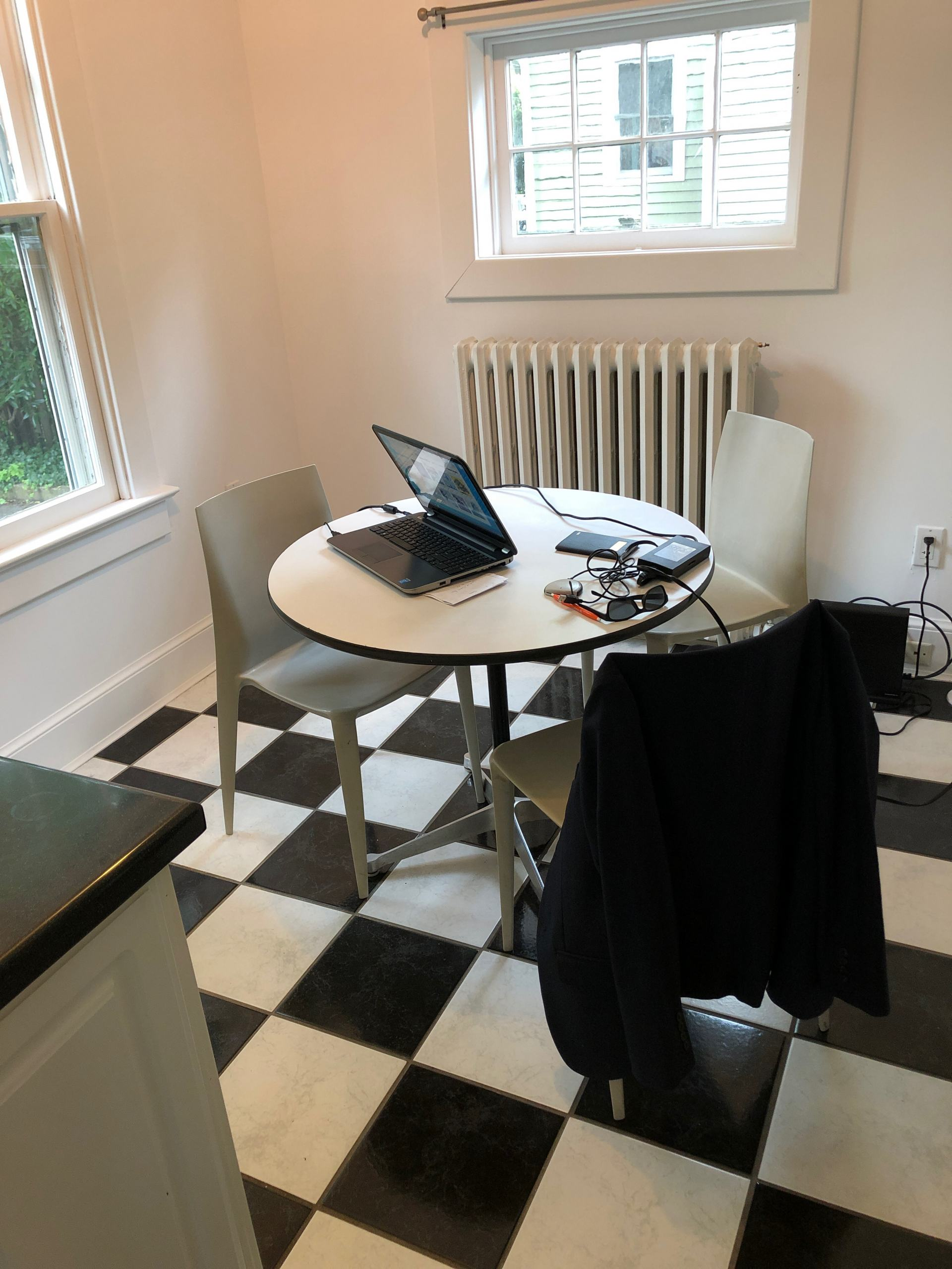 checkerboard floor breakfast nook