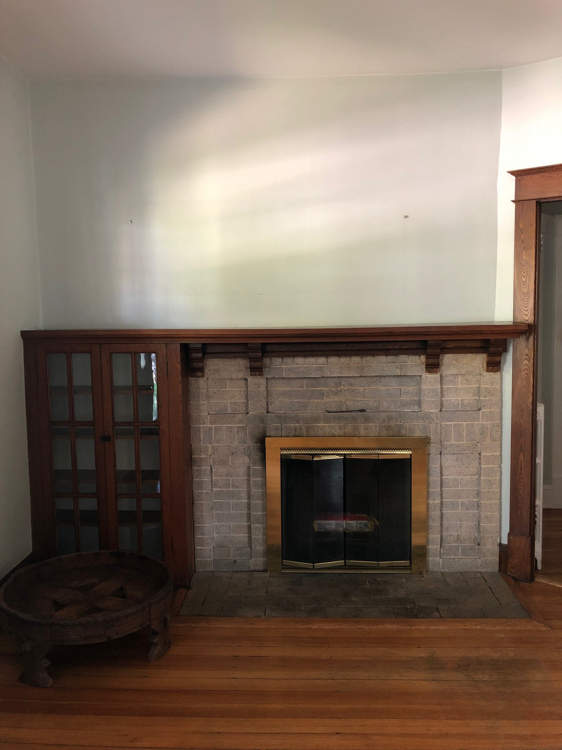 craftsman home fireplace with bookcase
