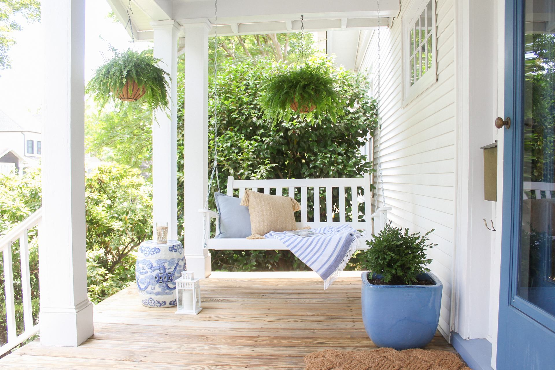 white front porch swing