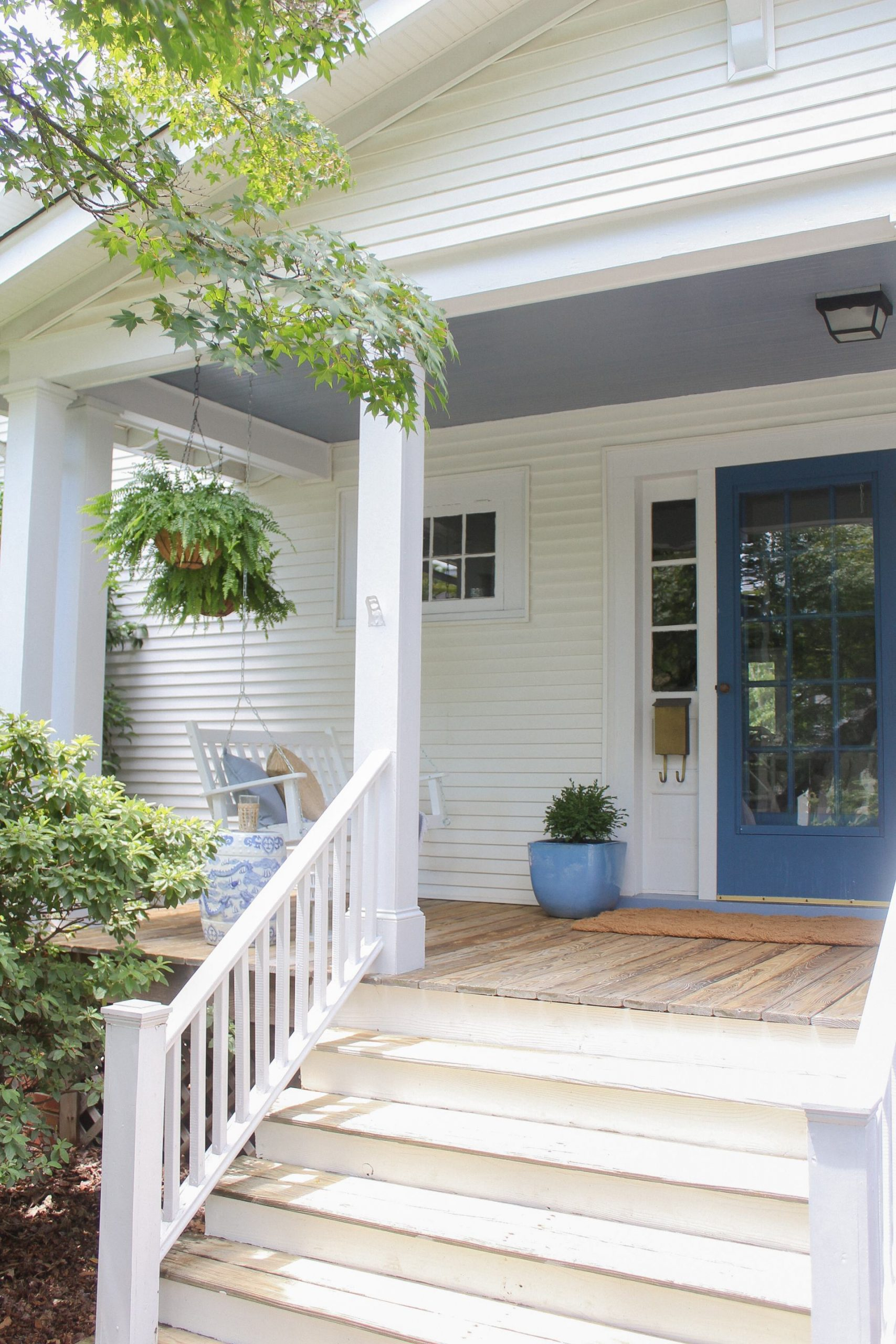 blue and white front porch