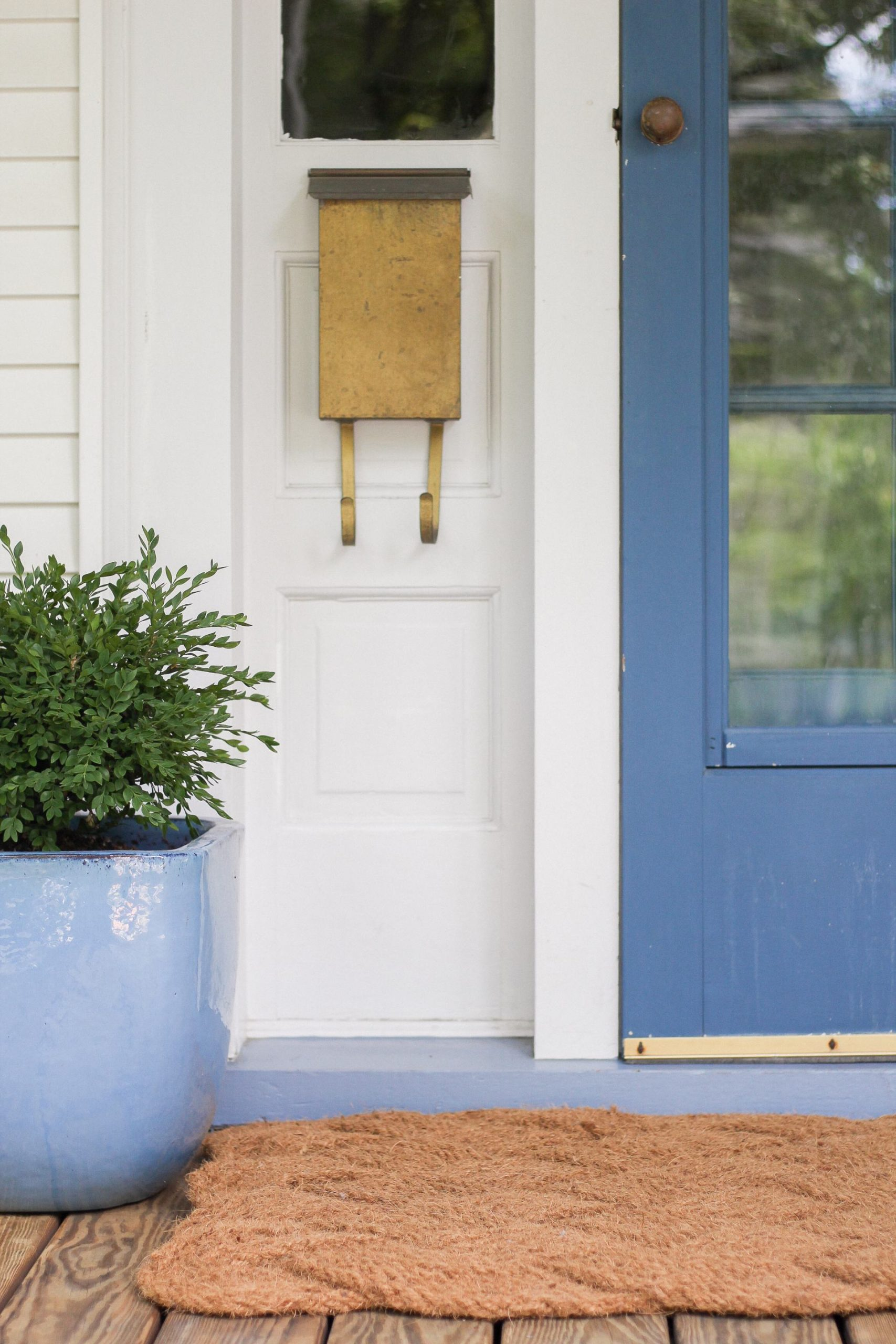 blue pot and blue front door with brass mailbox