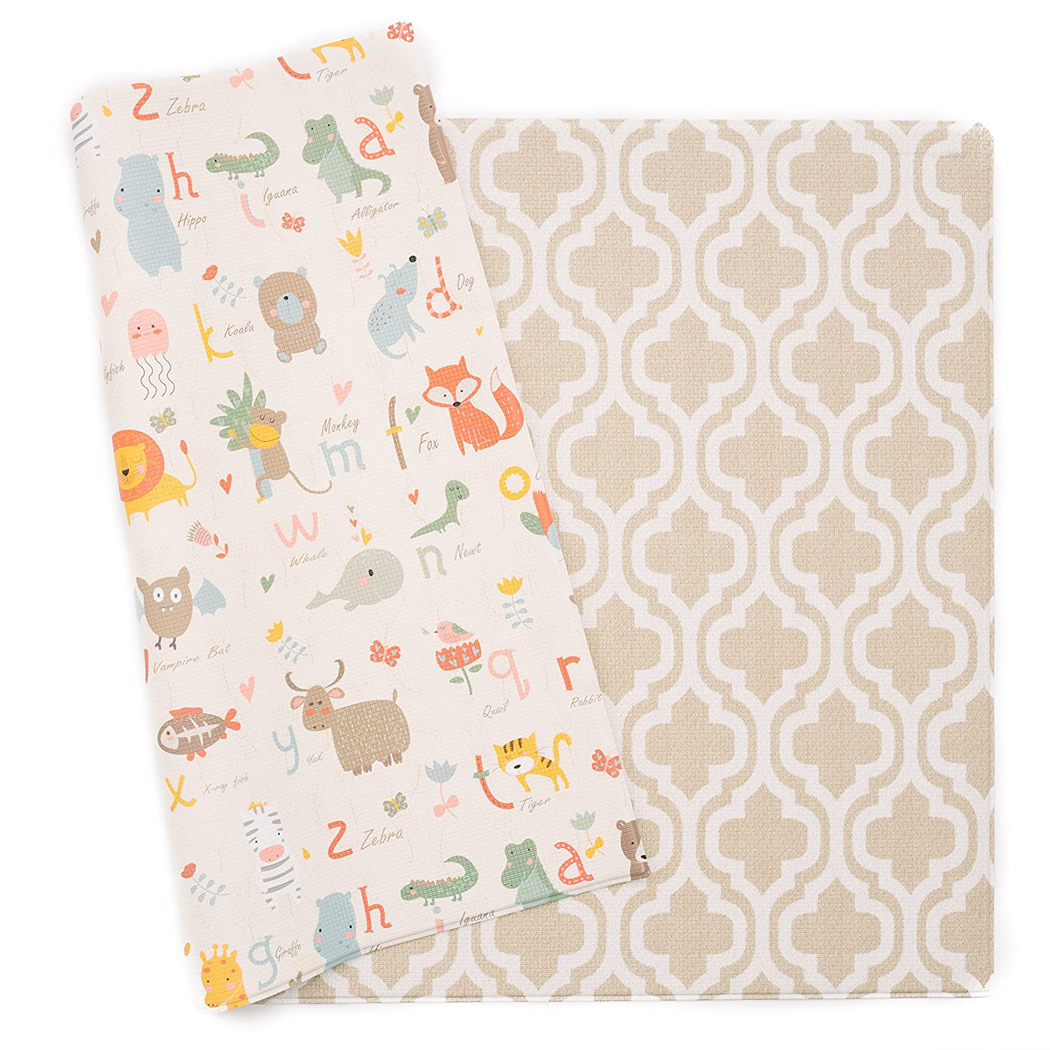 cute reversible cushioned baby mat with alphabet and moroccan design