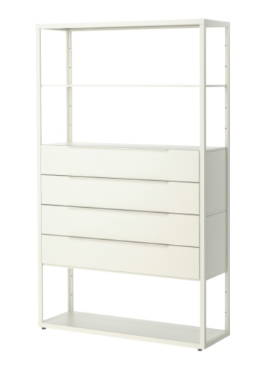 white shelves with drawers
