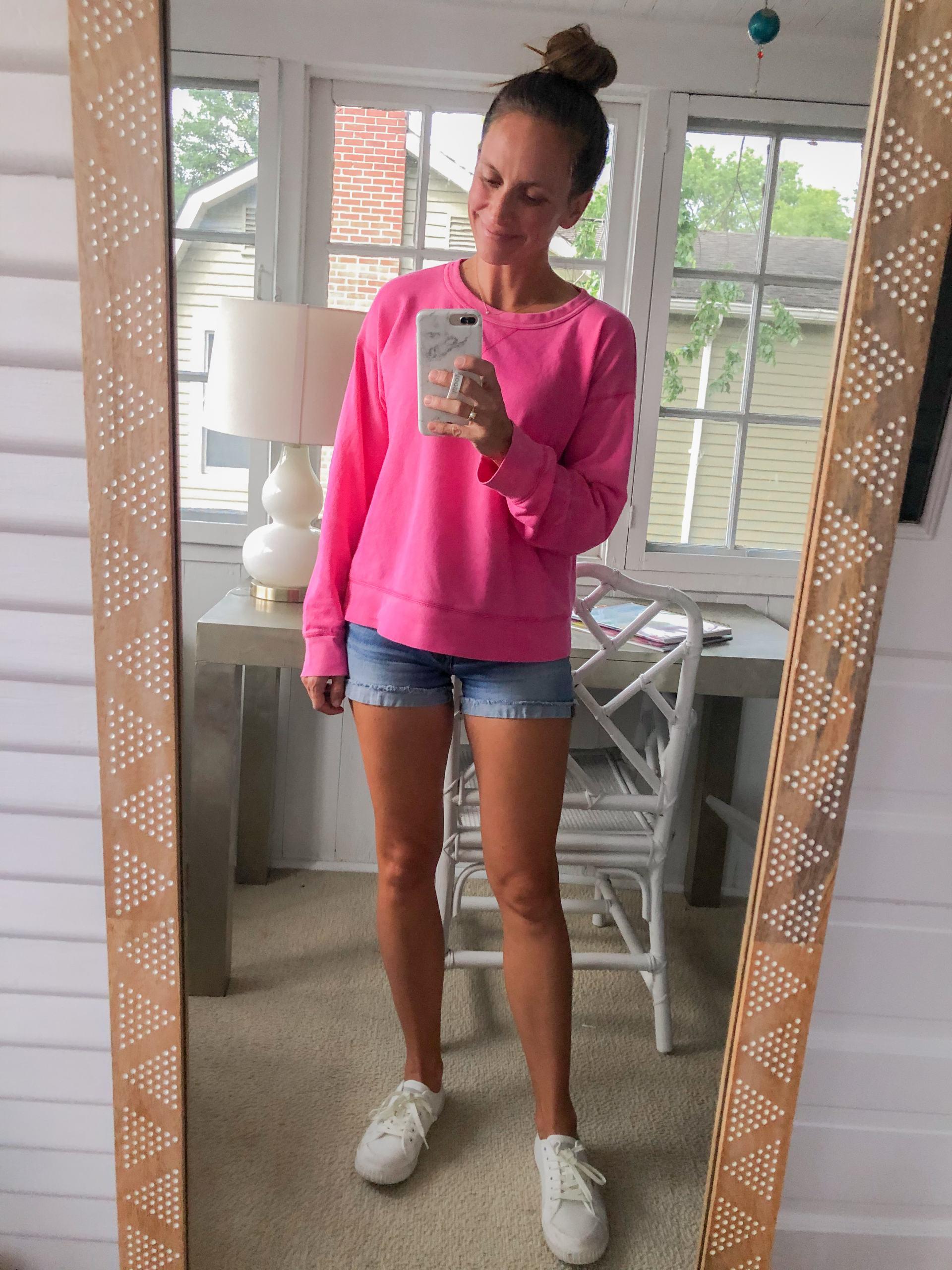 hot pink boyfriend sweatshirt from jcrew