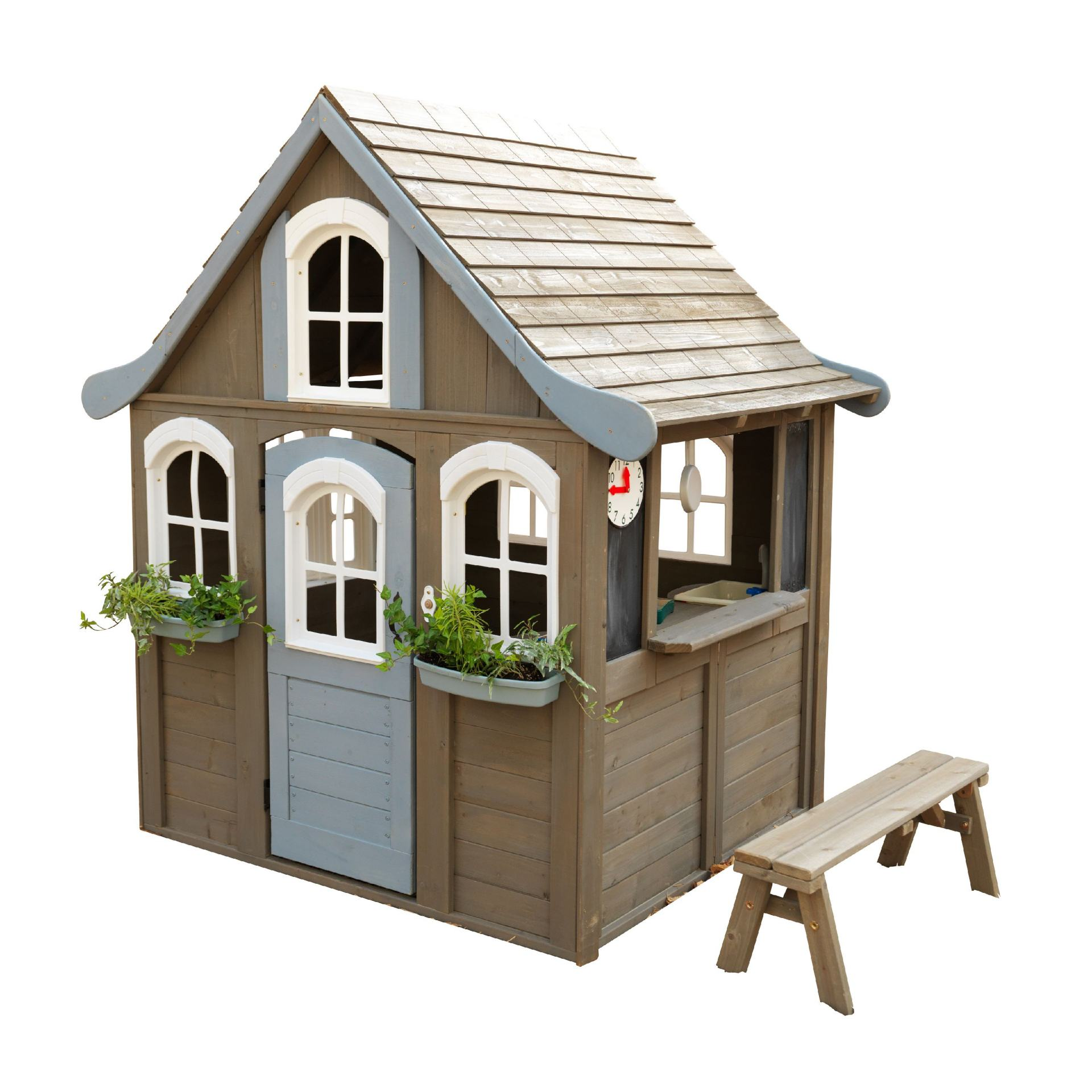 cute kids playhouse with blue accents
