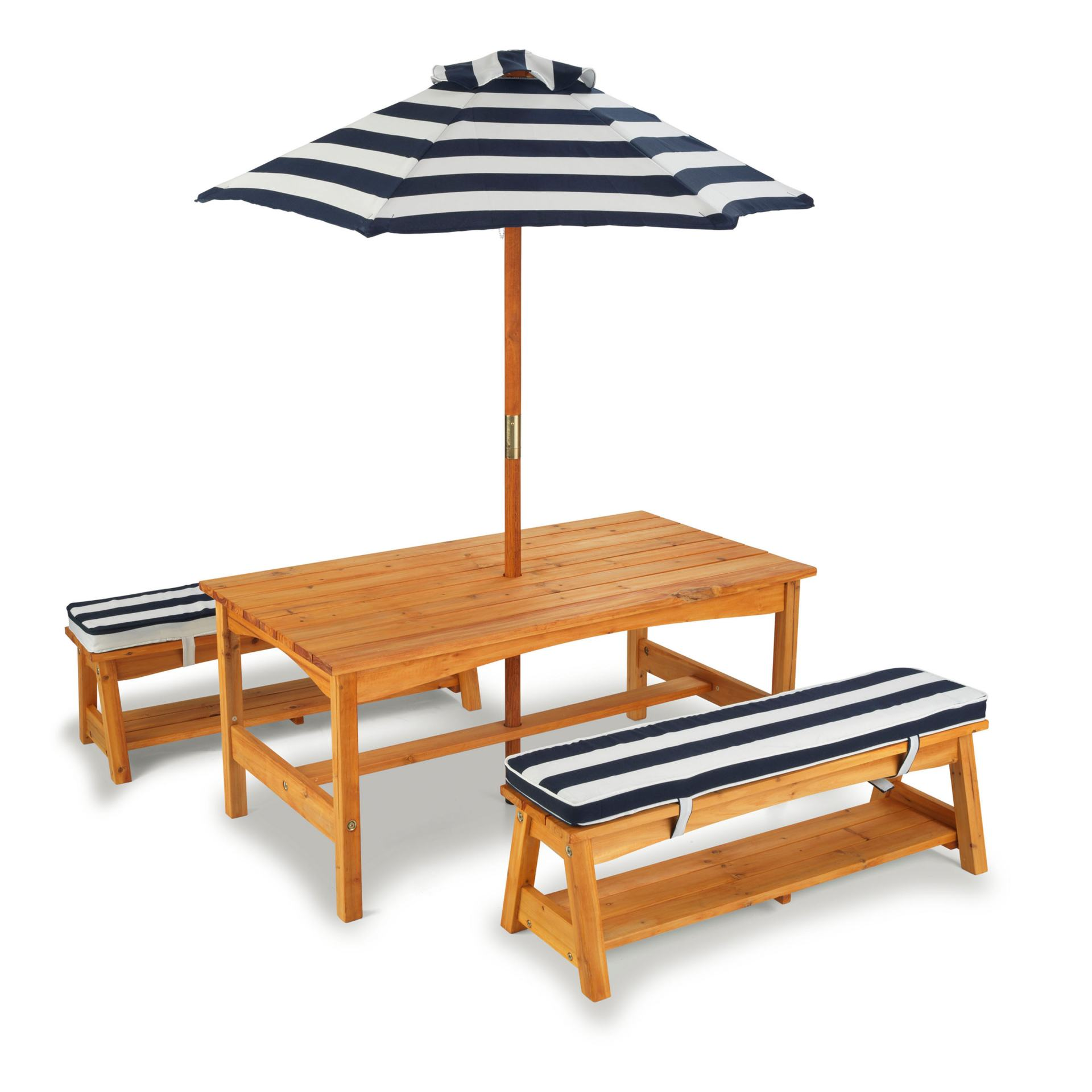 kids picnic table with blue and white striped umbrella and cushions