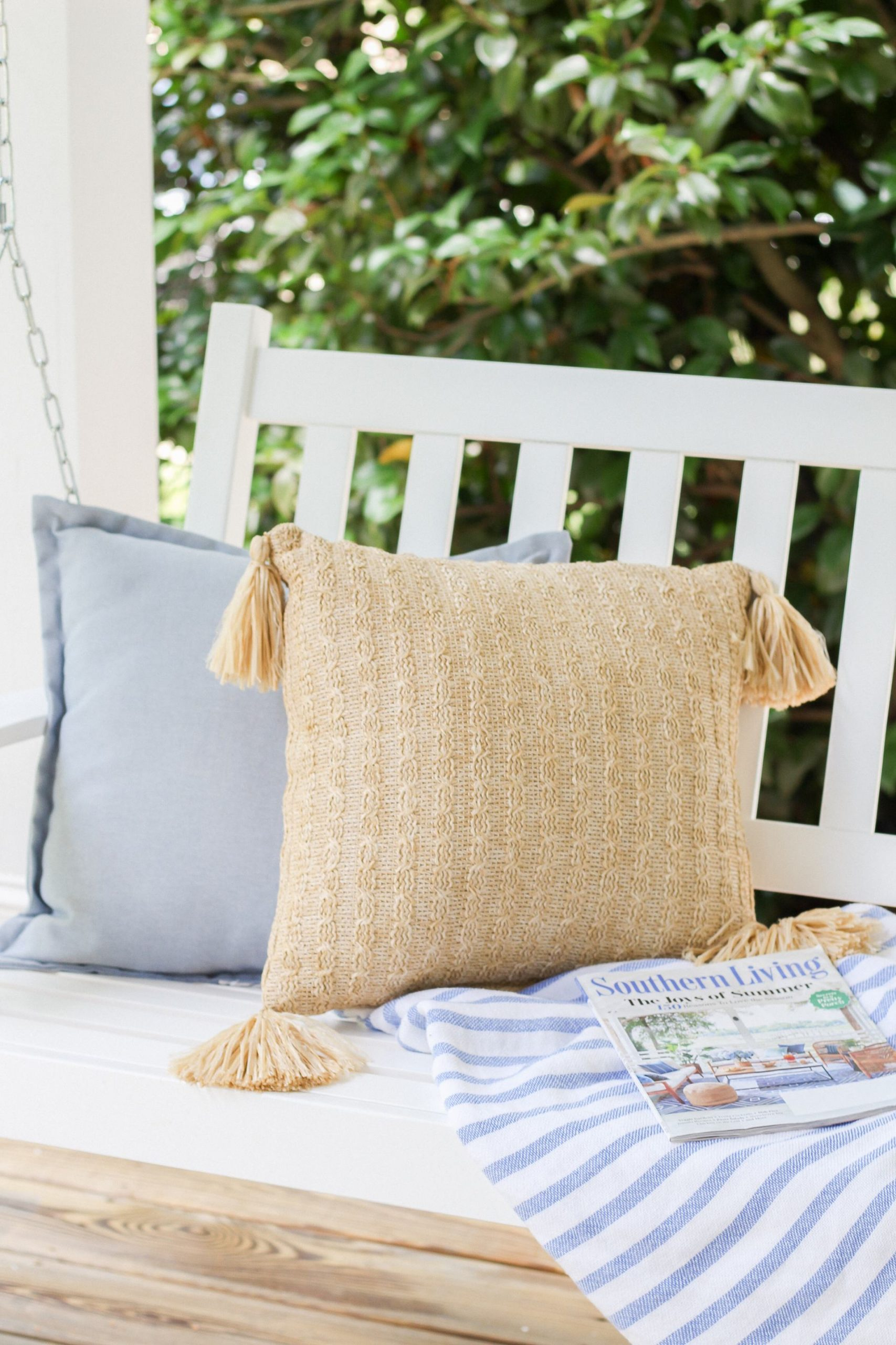 natural woven outdoor pillow