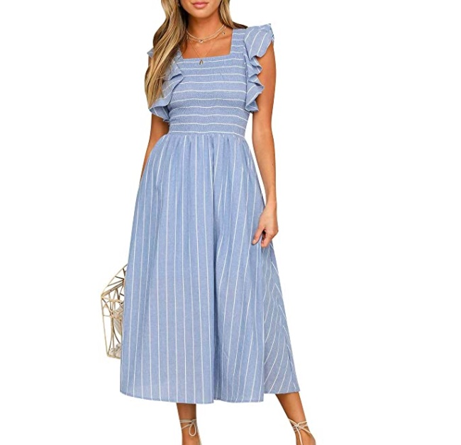 blue and white striped midi dress amazon