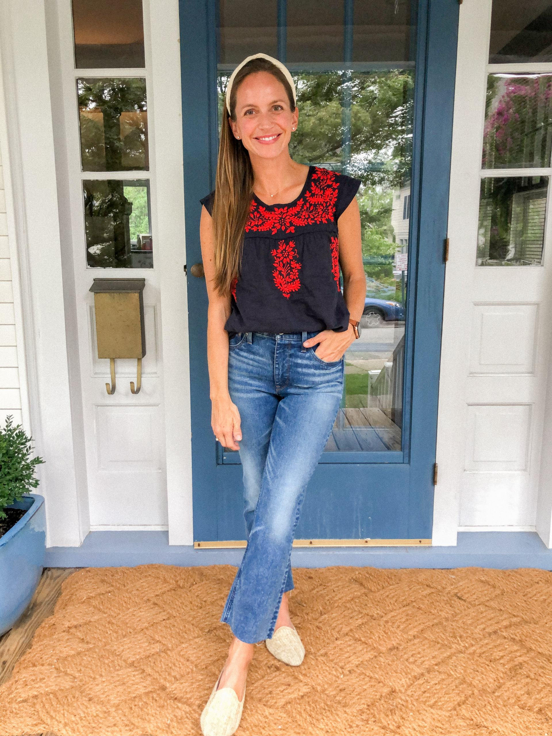 how to wear demi boot crop jeans with madison mathews catherine top woven mules and woven headband