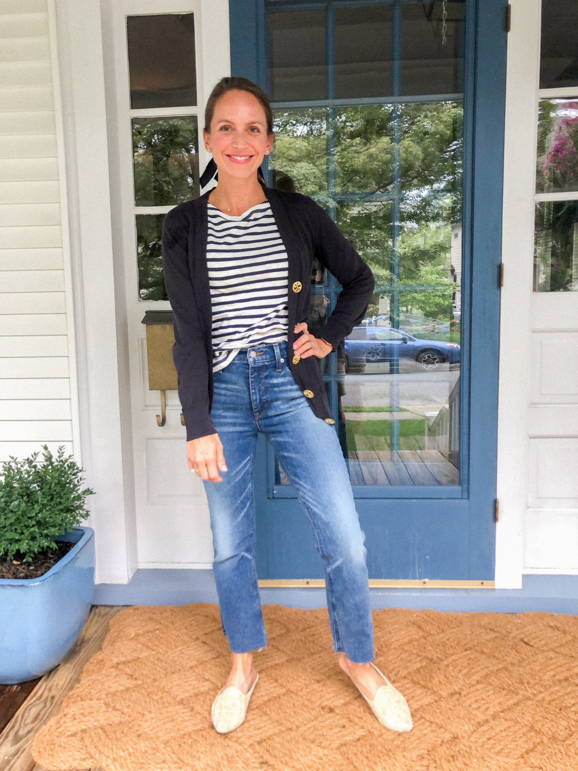 how to wear demi boot crop denim with striped shirt and tory burch cardigan