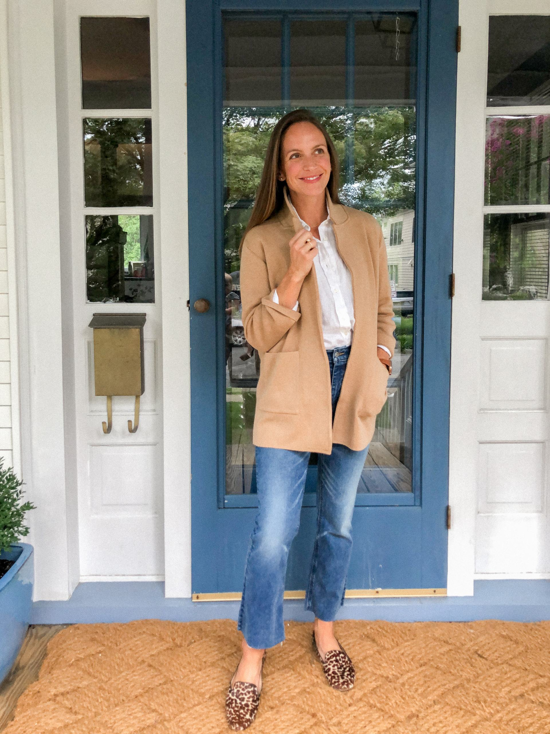 demi boot crops with linen shirt camel sweater blazer and leopard loafers