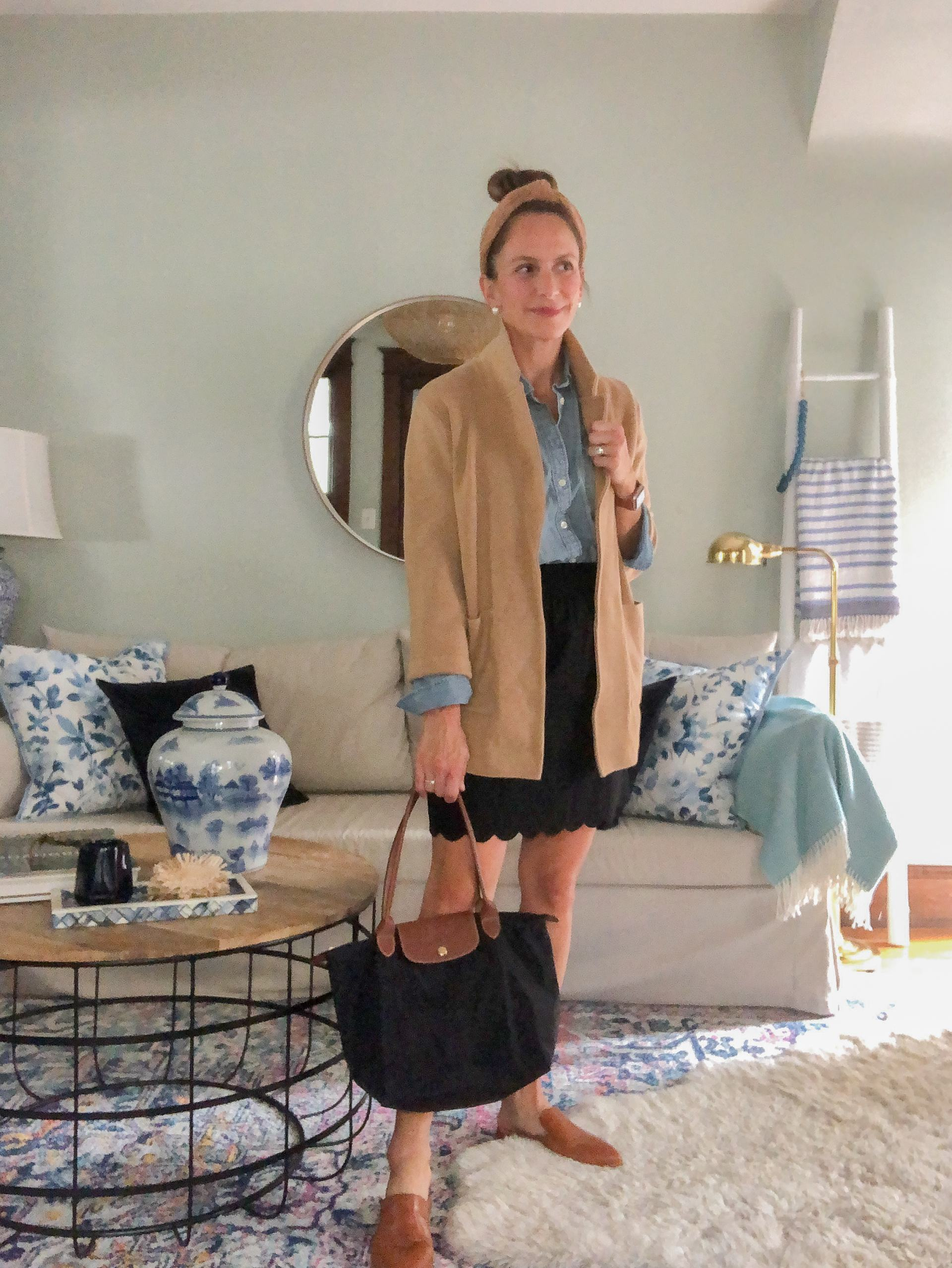 chambray shirt for fall with camel sweater blazer and skirt