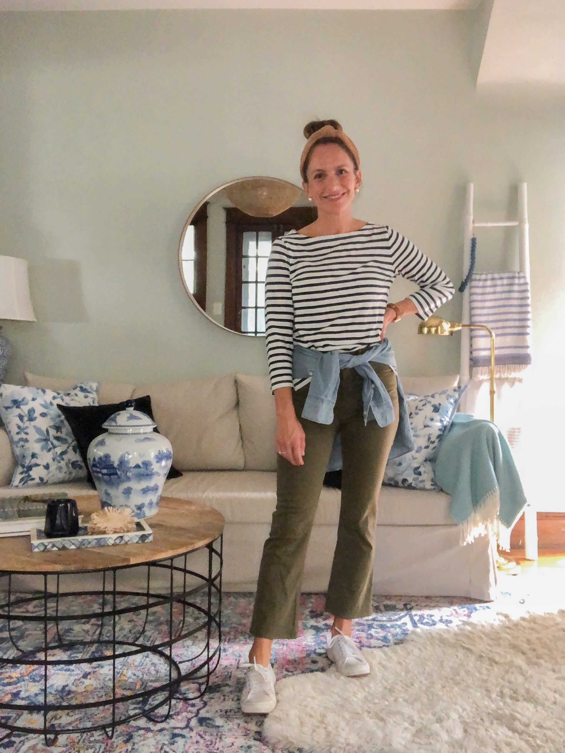 chambray shirt for fall with olive pants