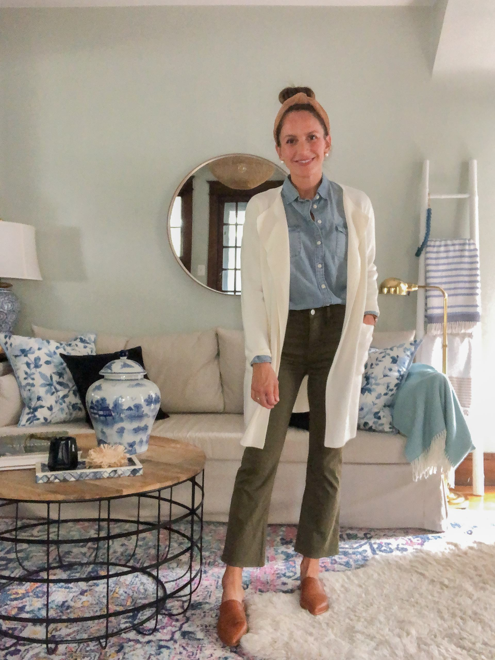 chambray shirt with sweater blazer and olive jeans