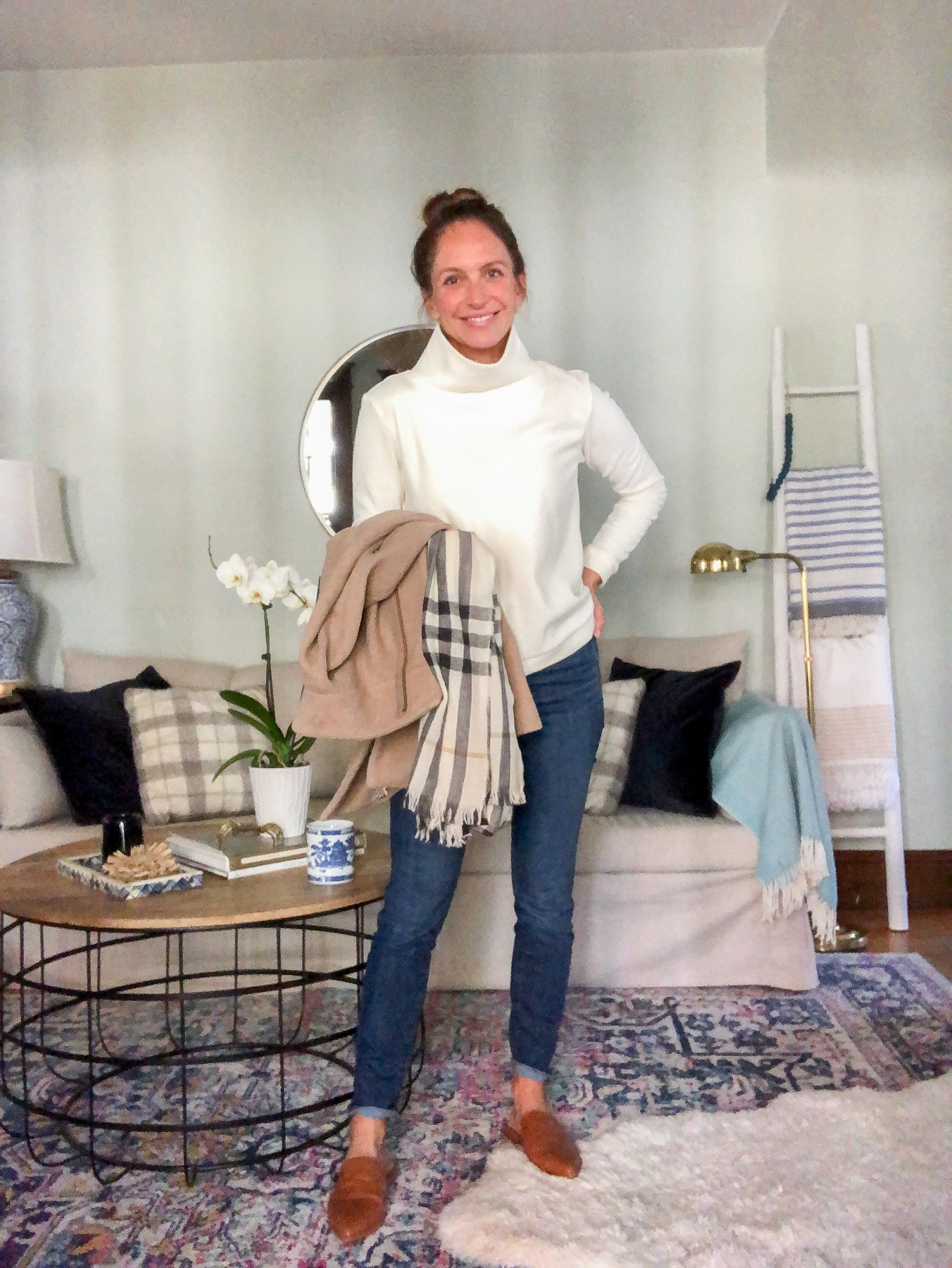 dudley stephens park slope fleece turtleneck with jeans and mules