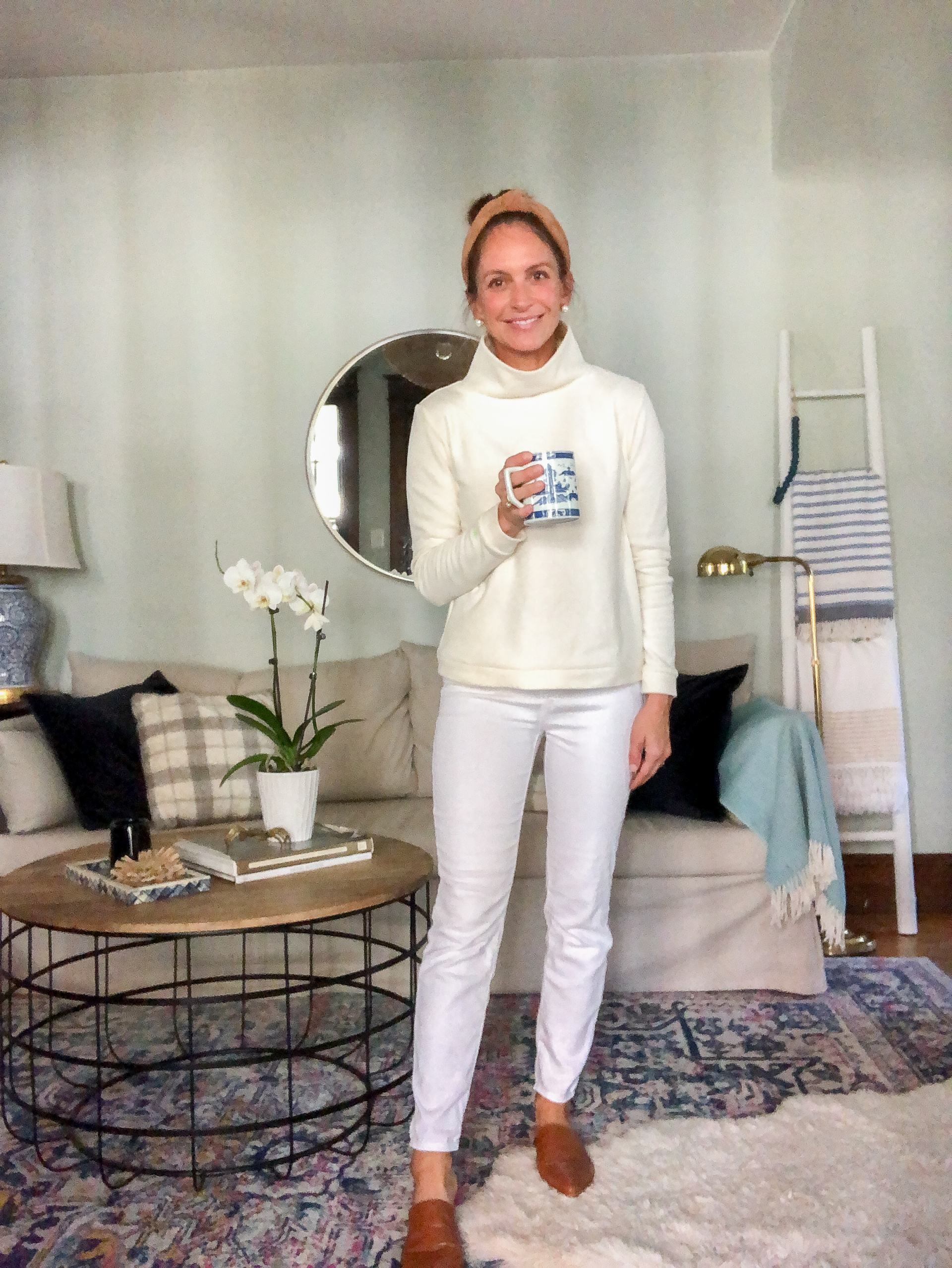 dudley stephens park slope fleece turtleneck with white jeans and mules