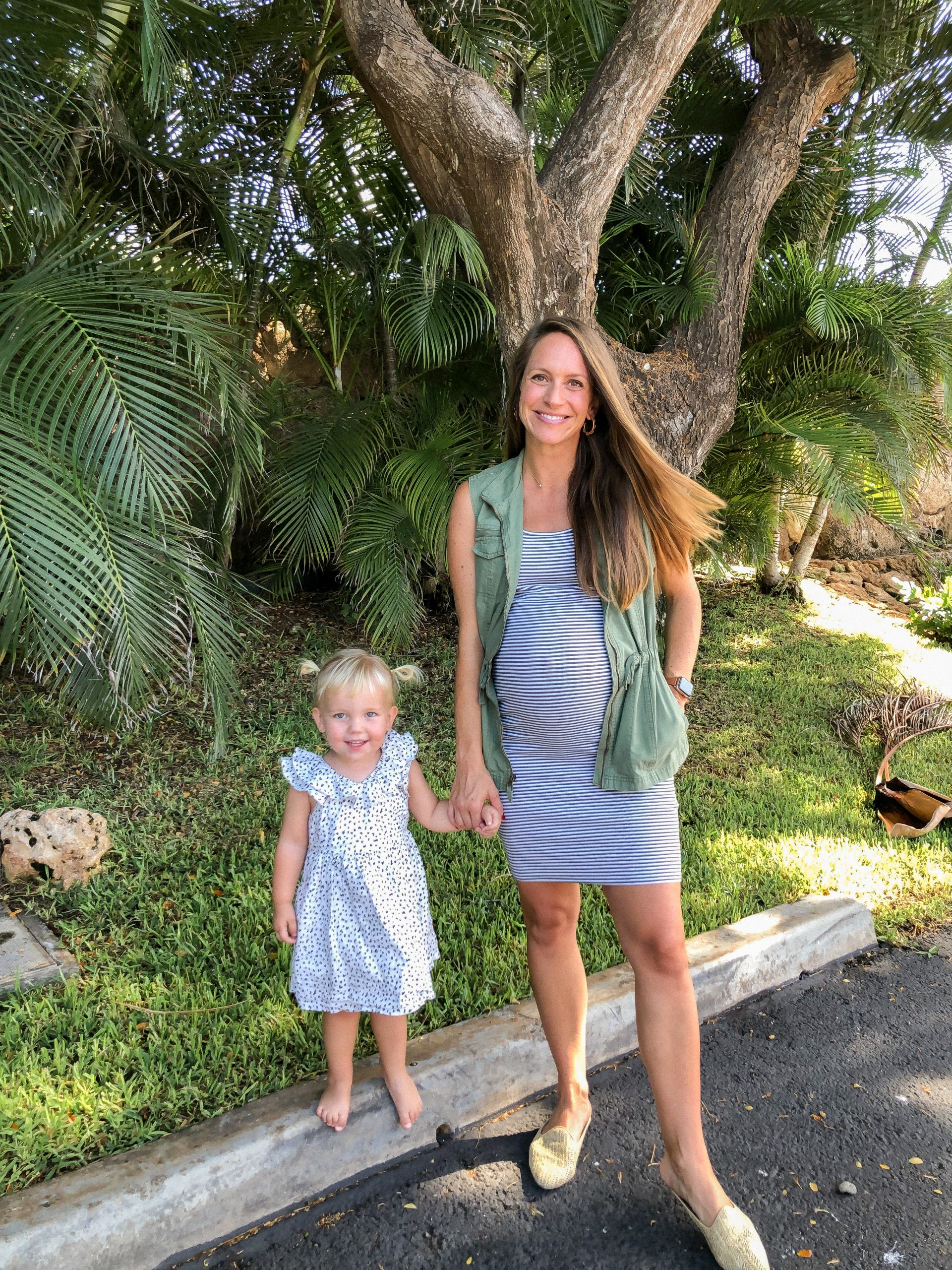 olive green utility vest fall maternity outfit